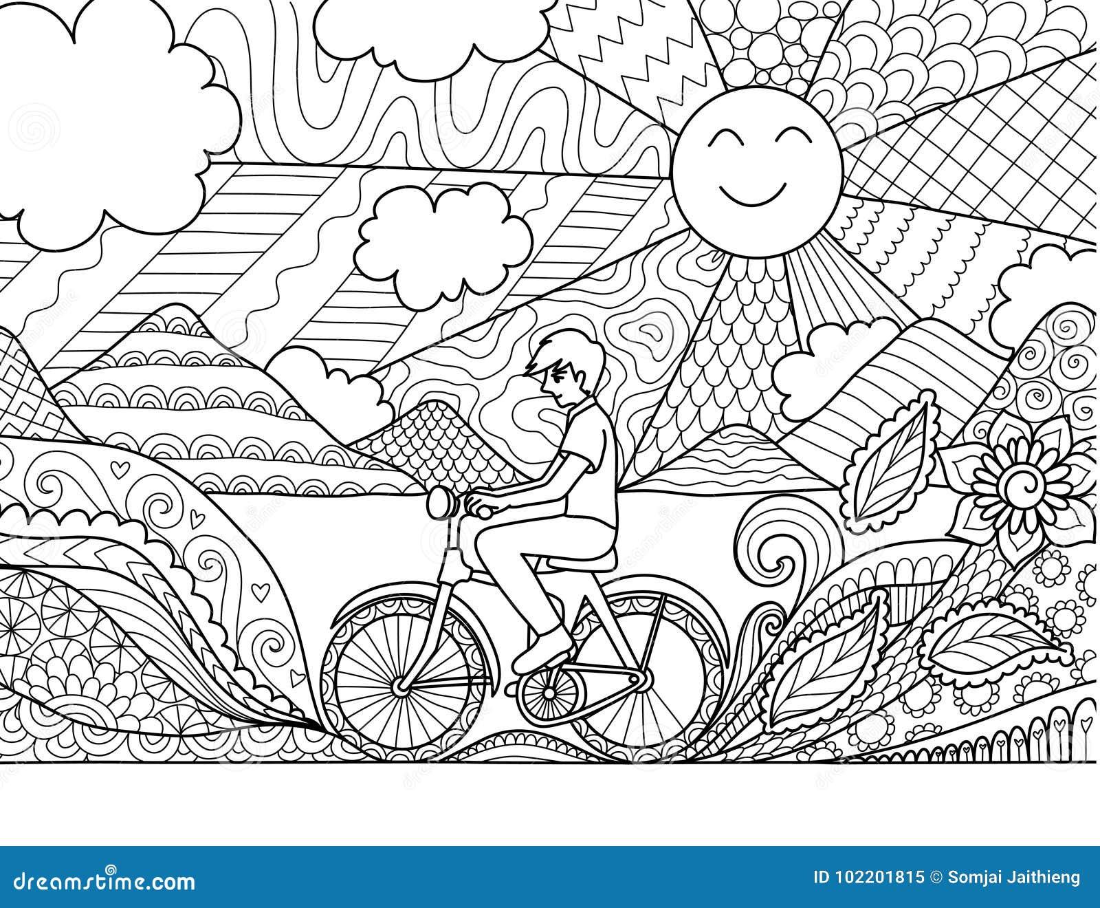 Bicicleta da equitação do homem novo felizmente na natureza bonita para a página adulta e a outro do livro para colorir elemento