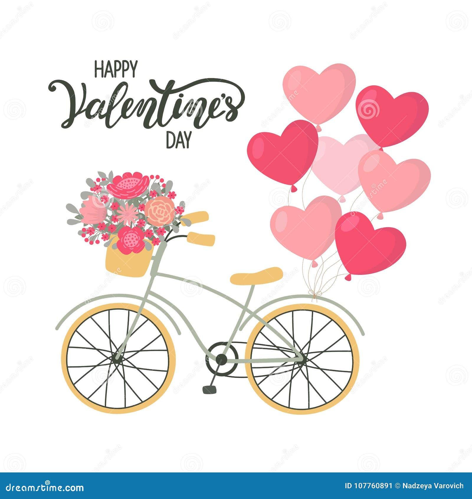 4bcdcf70e1108 Bicicleta del fondo del día de tarjetas del día de San Valentín con los  globos y