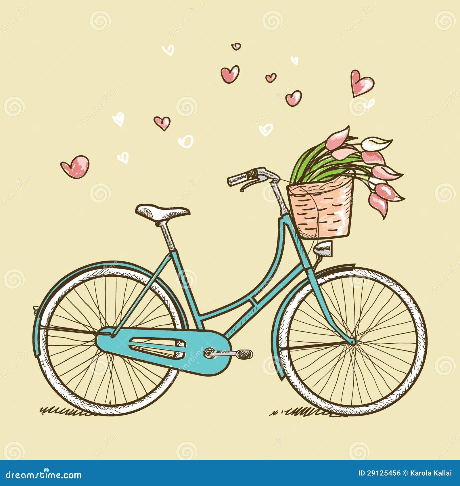 Bicicleta Del Vintage Con Las Flores Ilustracion Del Vector