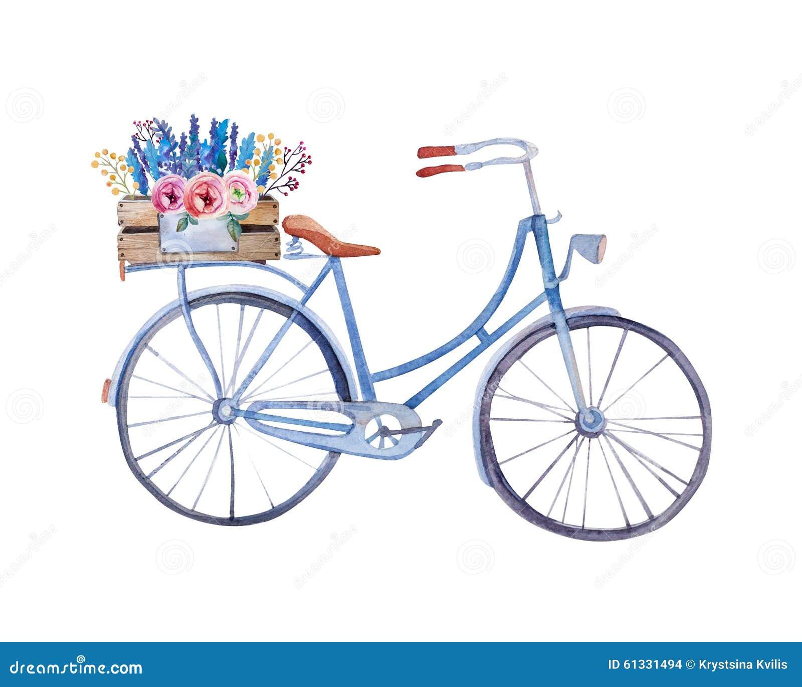 Bicicleta del vintage de la acuarela con la caja de flores