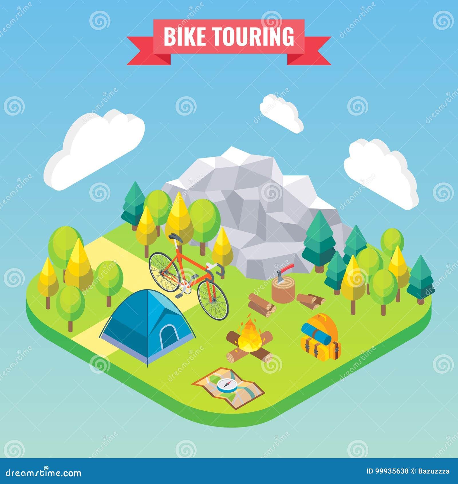 Bicicleta que visita o conceito isométrico Viaja e a ilustração de acampamento do vetor no estilo 3d liso Atividade exterior do a