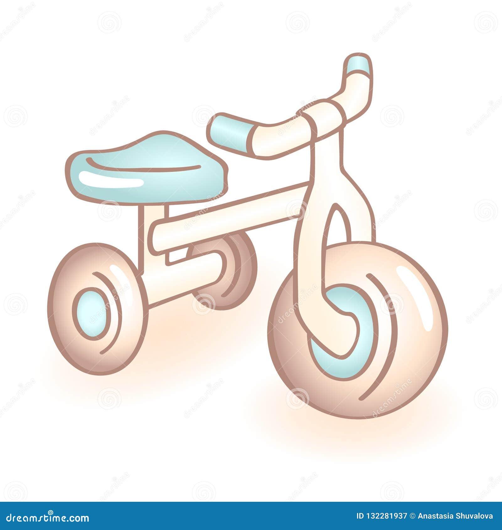 Bicicleta recém-nascida com três rodas, triciclo do bebê com detalhes azuis Ícone infantil do vetor Artigo da criança