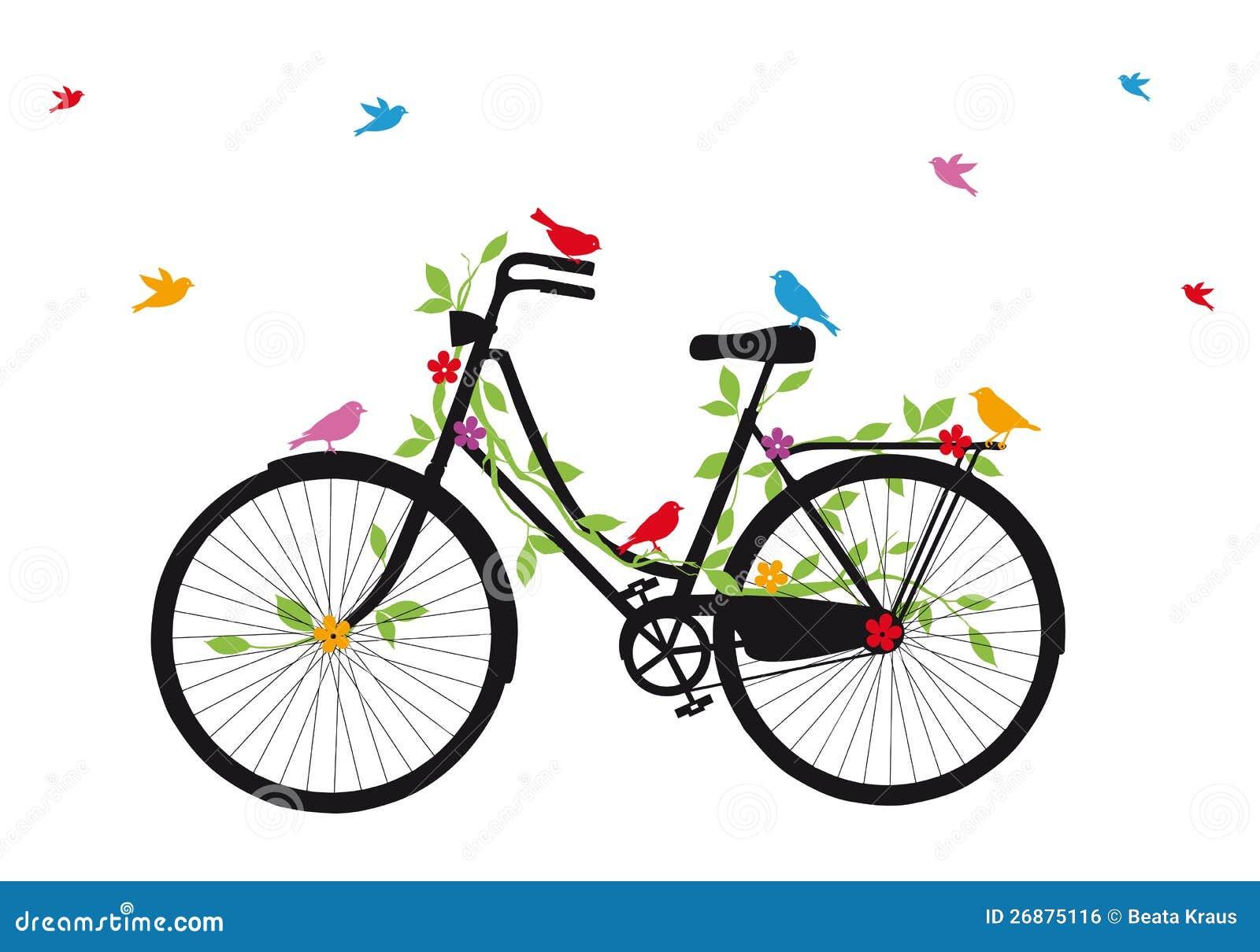Bicicleta vieja con los pájaros, vector