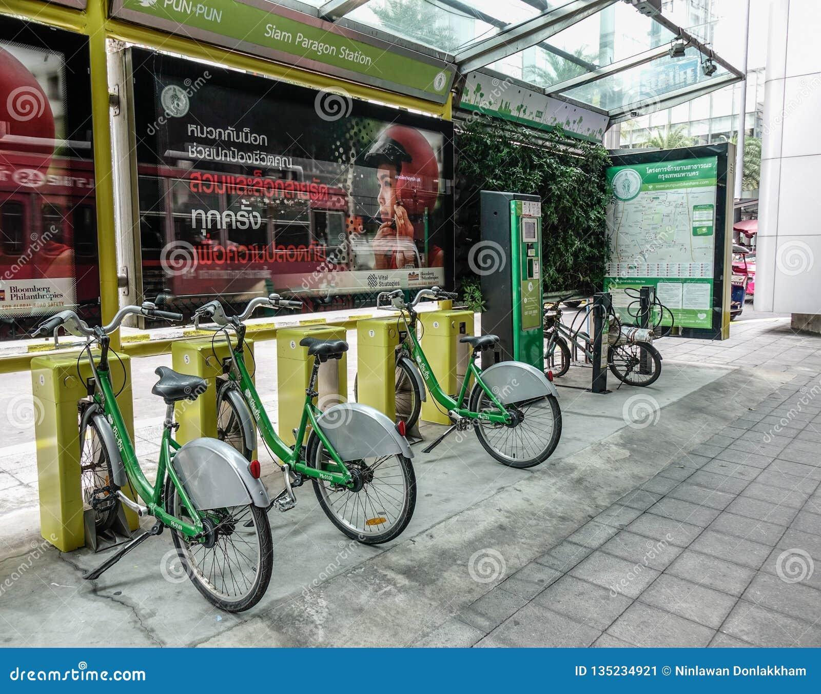 Bicicletas para el alquiler en Bangkok, Tailandia