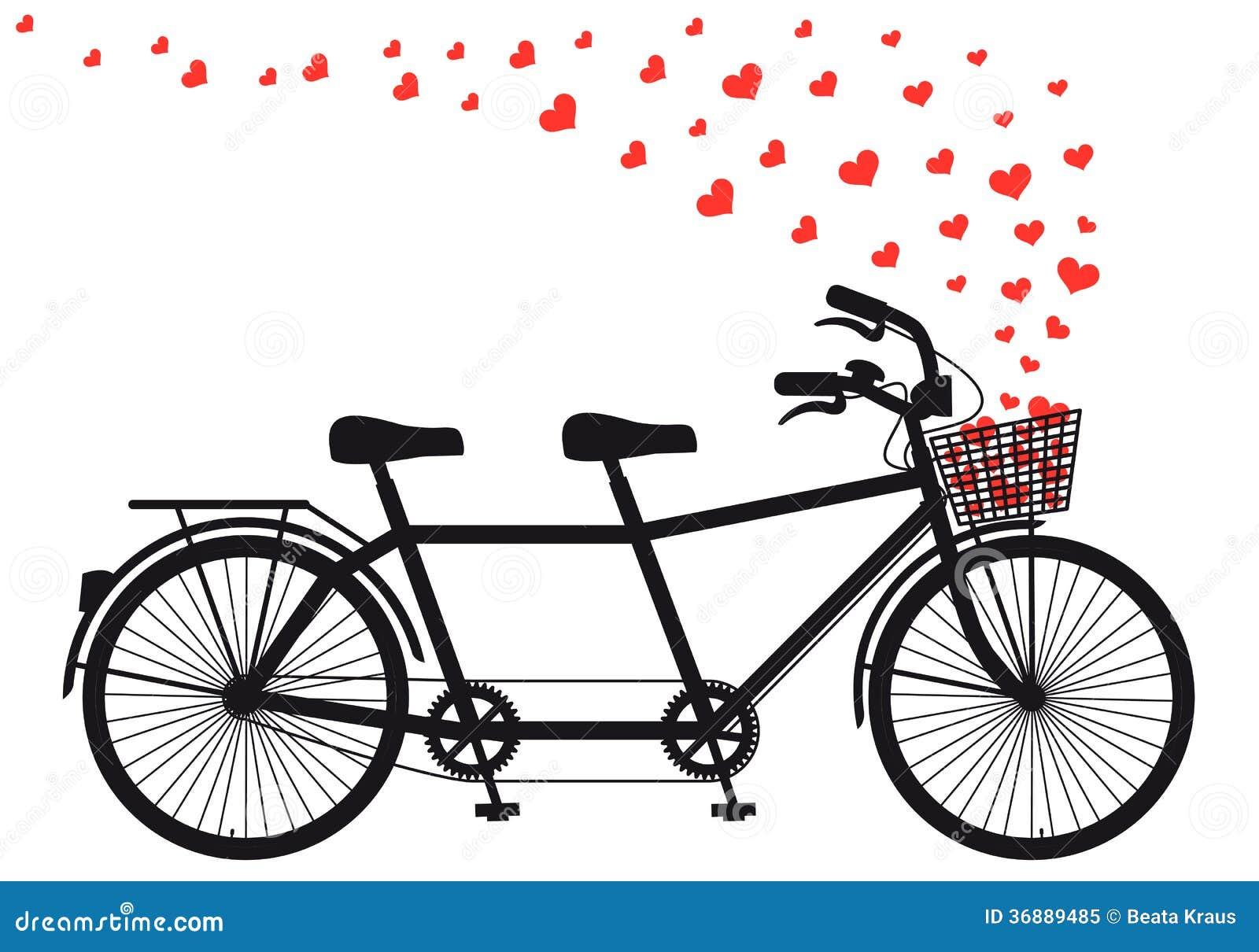 Download Bicicletta Con I Cuori Rossi, Vettore Di Tanden Illustrazione Vettoriale - Illustrazione di cestino, sede: 36889485