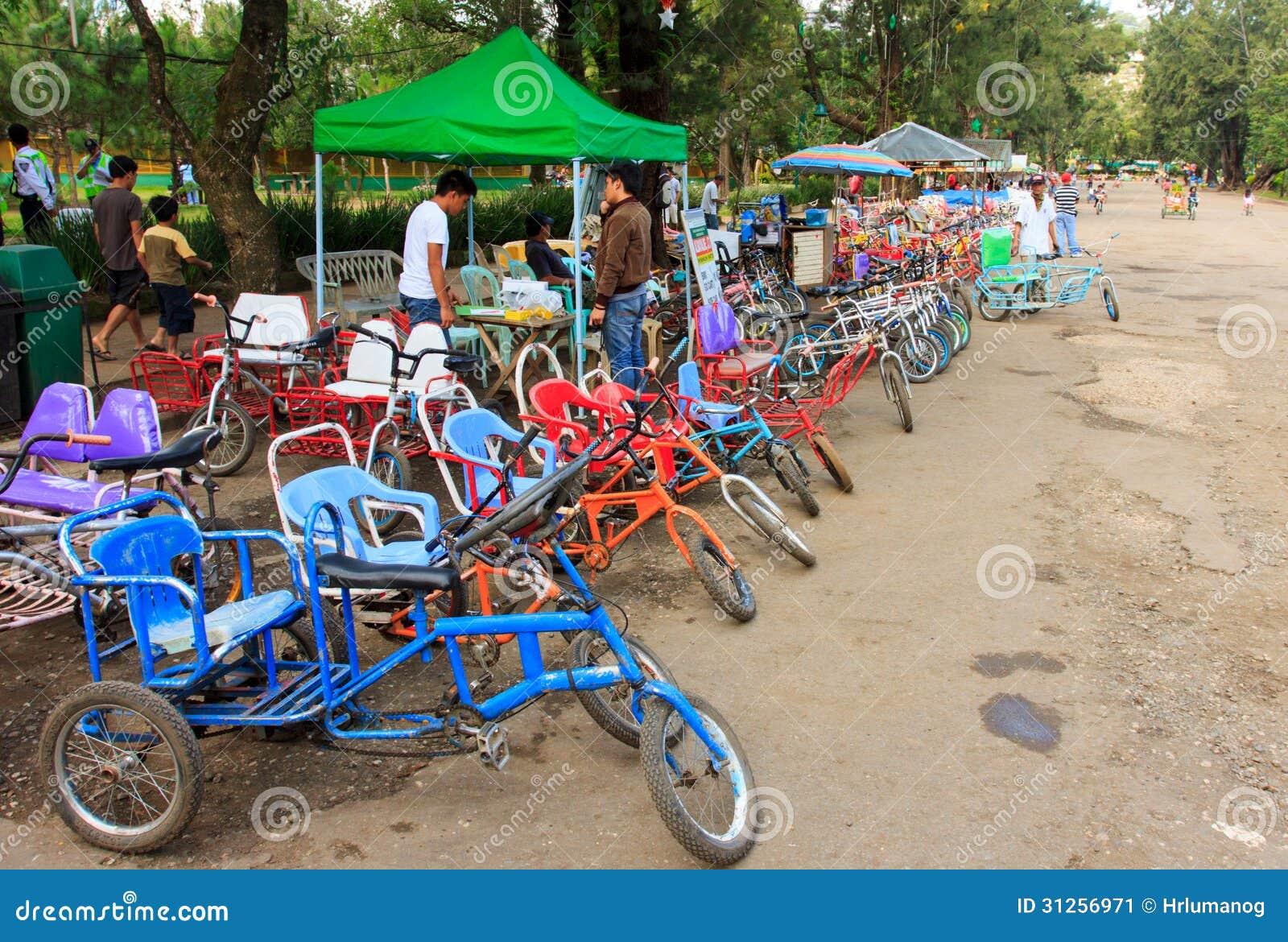 Bicis para el alquiler en la ciudad de Baguio, Filipinas