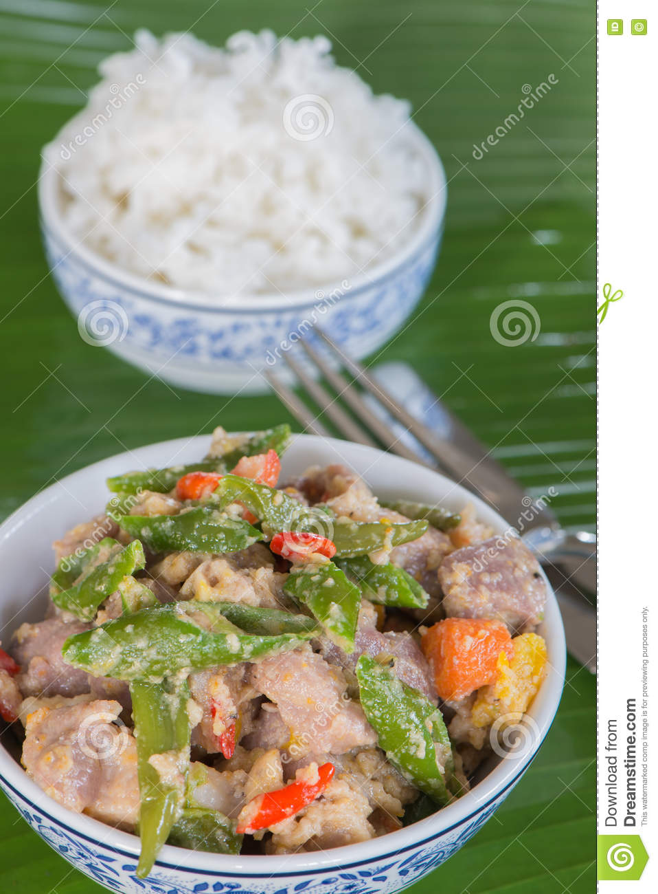 bicol express with rice stock photo - image: 75895272