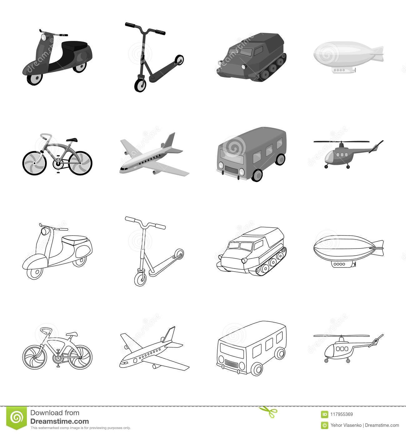 Bicycle Airplane Bus Helicopter Types Of Transport