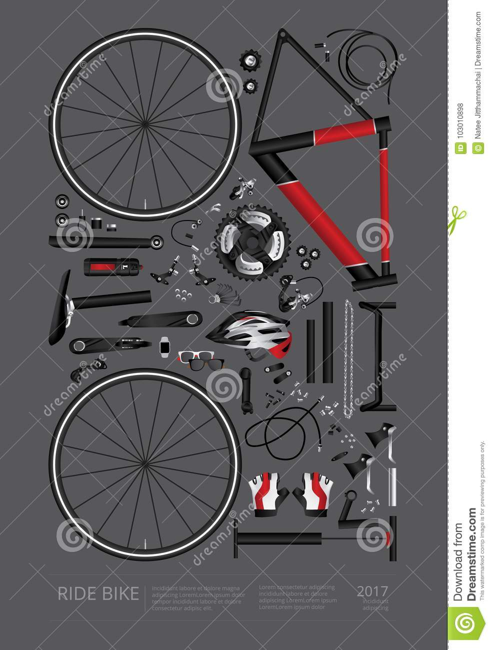 bicycle assembly poster advertising stock vector illustration of rh dreamstime com bike assembly diagram bicycle parts diagram pdf