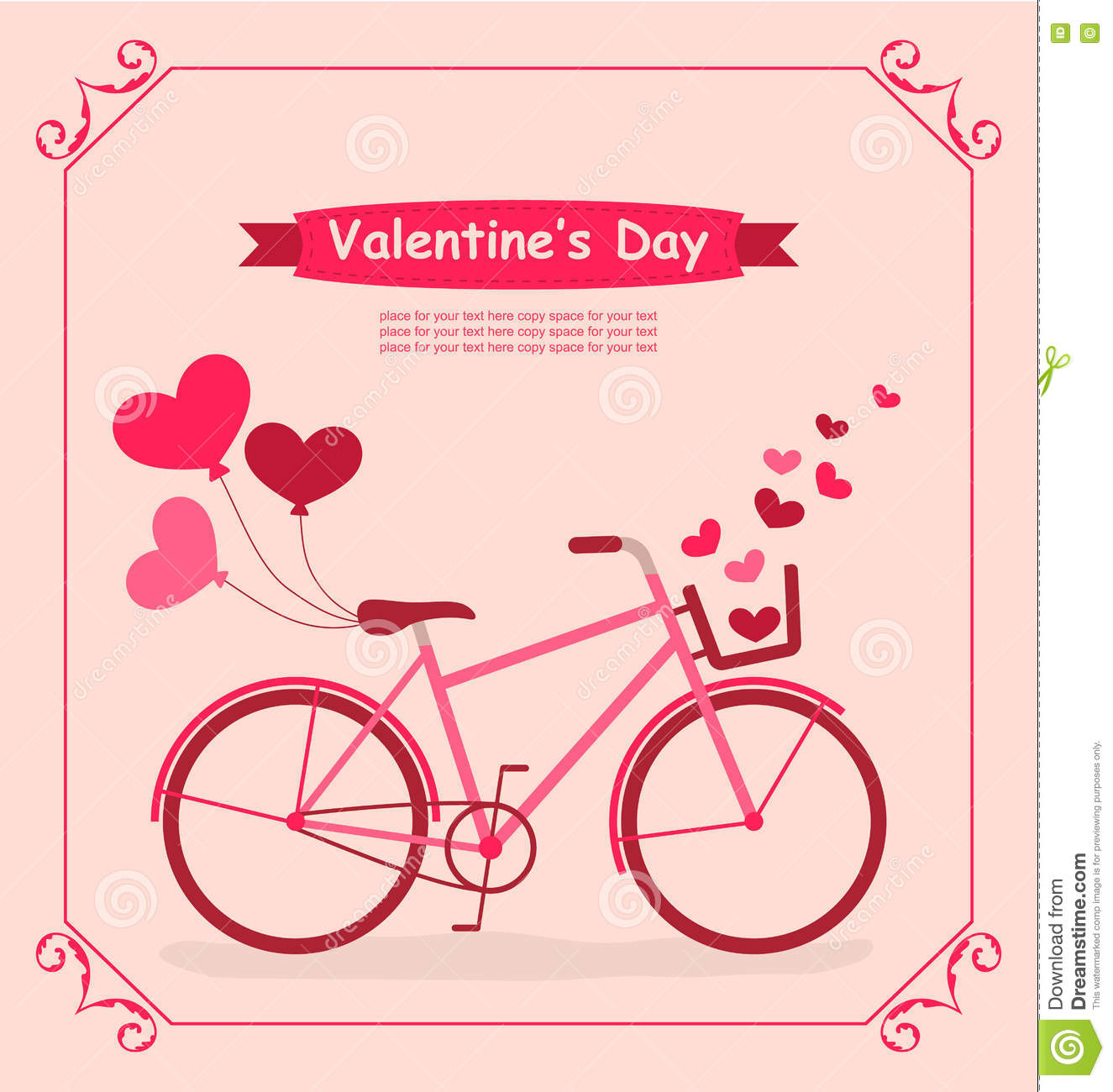 Bicycle With Balloons And Hearts Romantic Birthday Card – Romantic Birthday Card