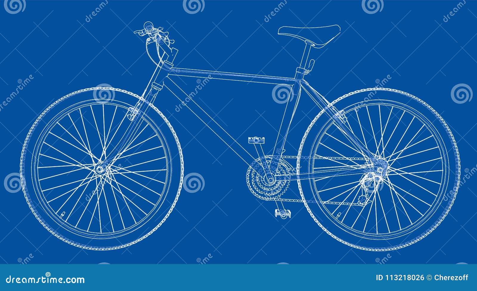 Bicycle Blueprint 3d Illustration Stock Illustration - Illustration ...