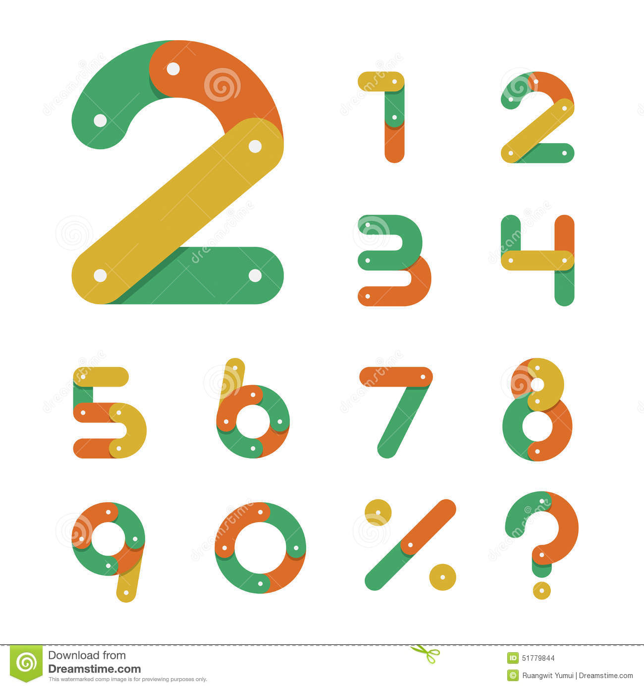 Bicycle chain number set in flat design icon stock vector for Blueprint number