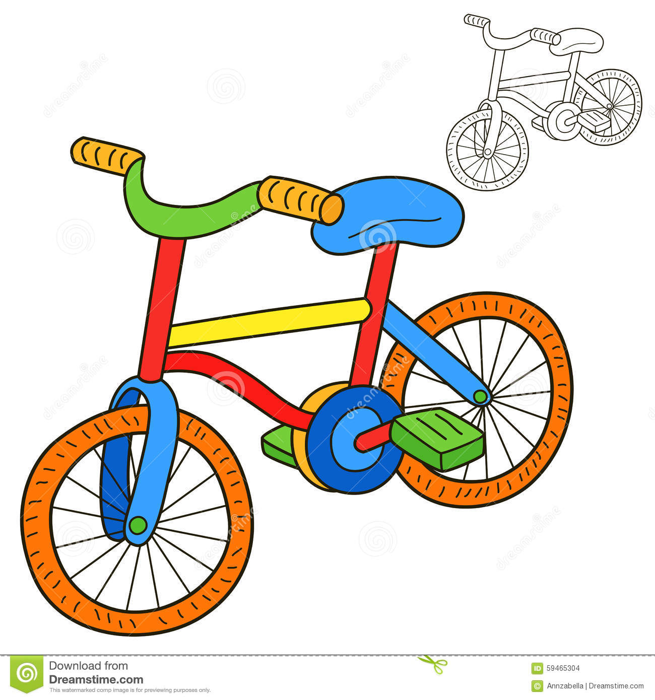 bicycle book cartoon coloring - Bicycle Coloring Book