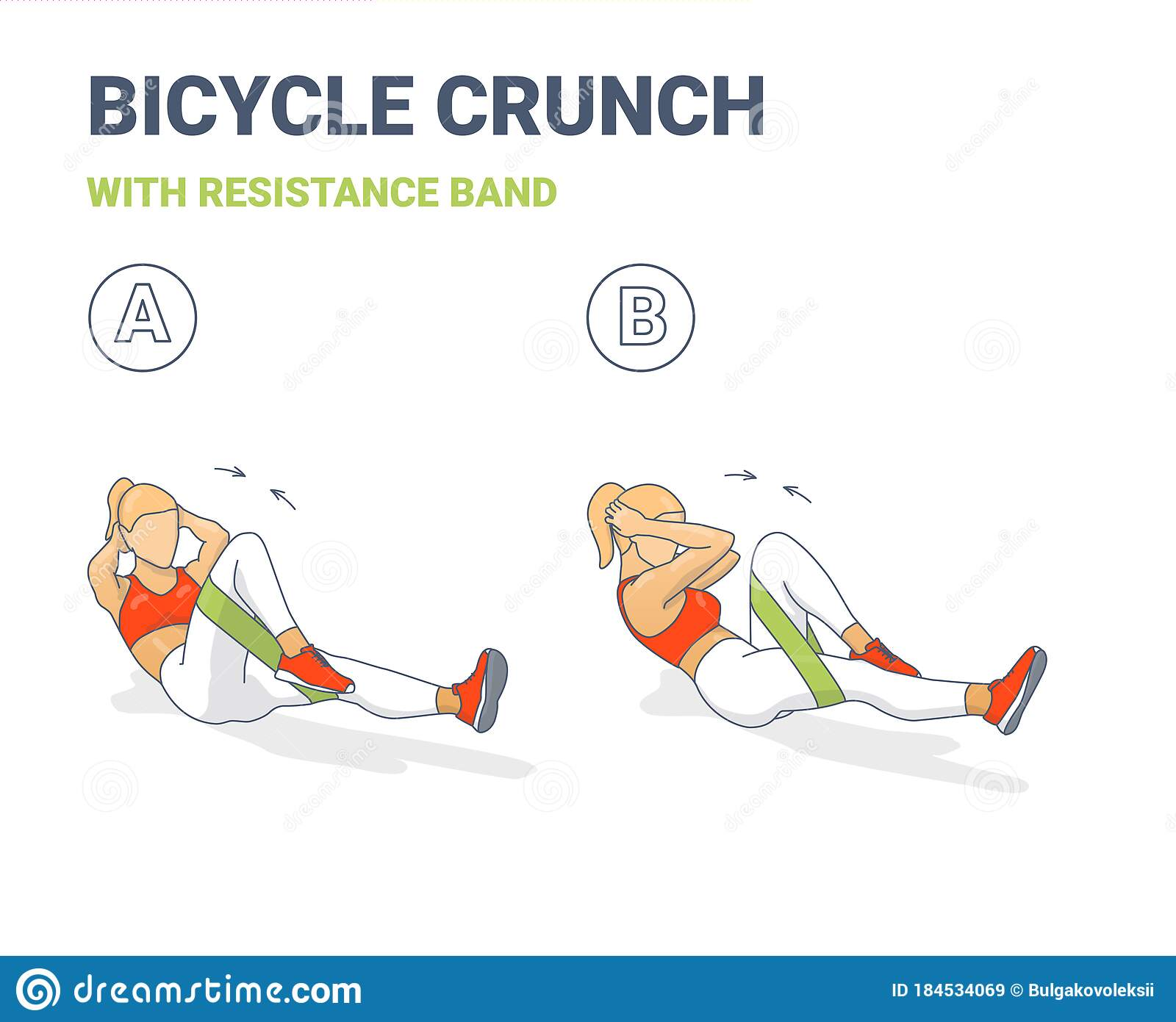Bicycle Crunch Abs With Resistance Band Girls Abdominal Home