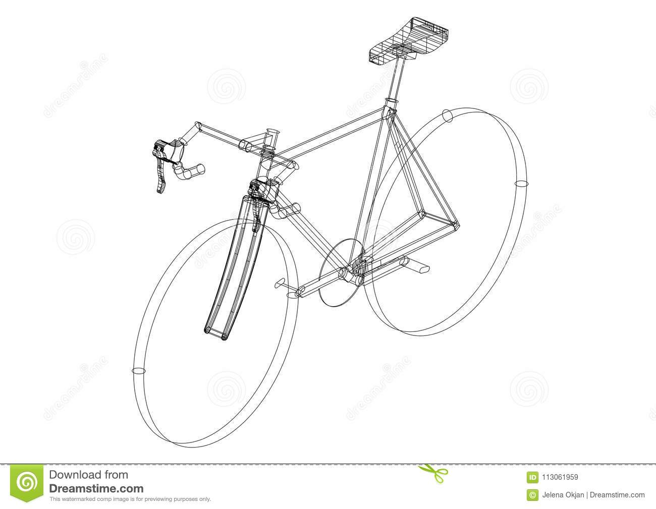 Bicycle 3d blueprint isolated stock illustration illustration of bicycle 3d blueprint isolated malvernweather Image collections