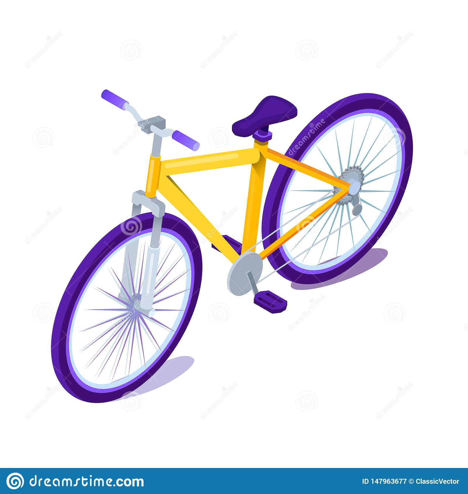 Bicycle flat cartoon color vector illustration