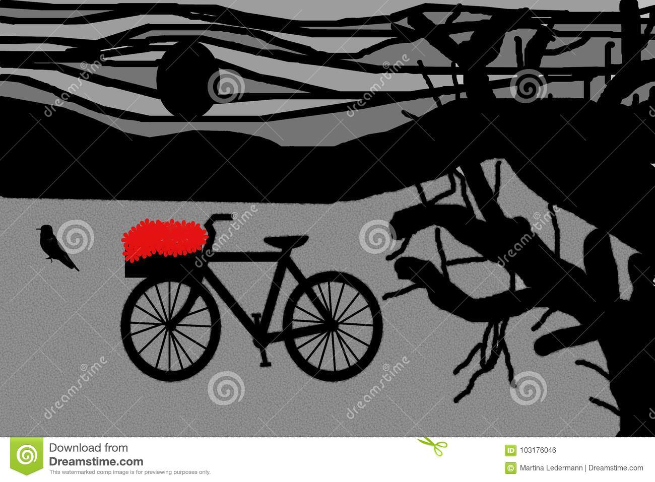 Bicycle With Flowers Stock Photo Illustration Of Country 103176046