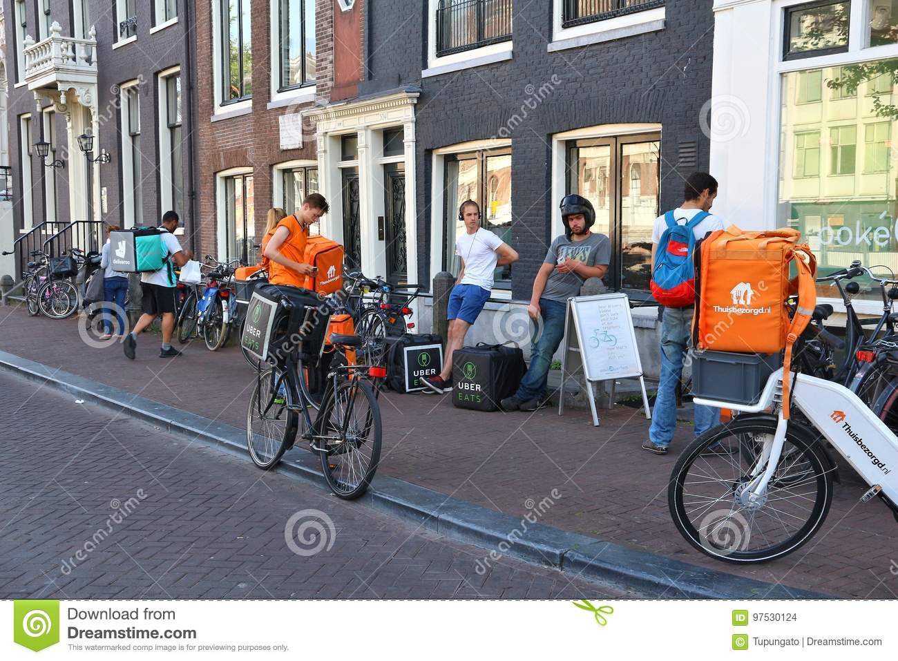 Bicycle food delivery editorial stock image  Image of bike