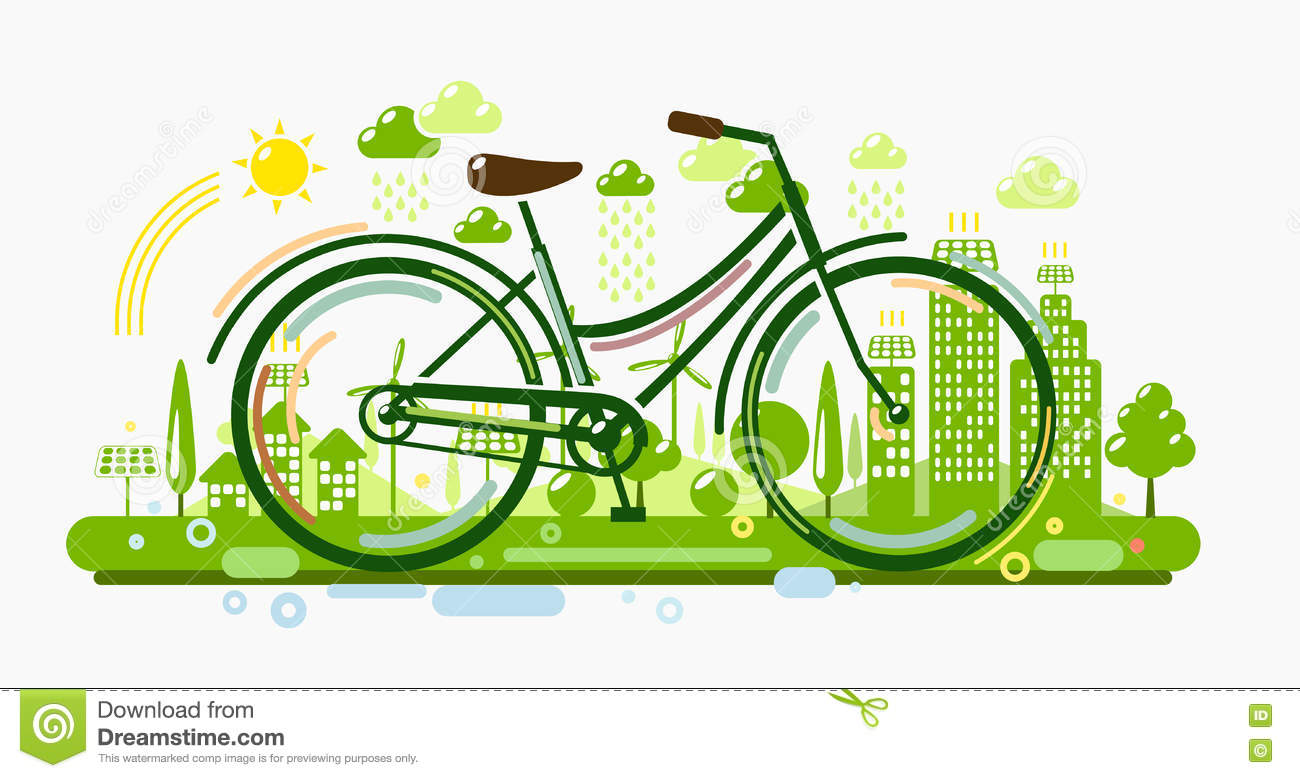 bicycle with green city stock vector image of icon. Black Bedroom Furniture Sets. Home Design Ideas