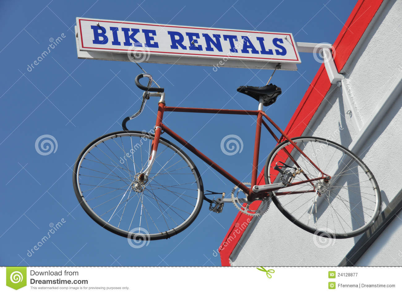 Bicycle hanges from a bike rentals sign outside royalty free stock photography image 24128877 Motor cycle rentals