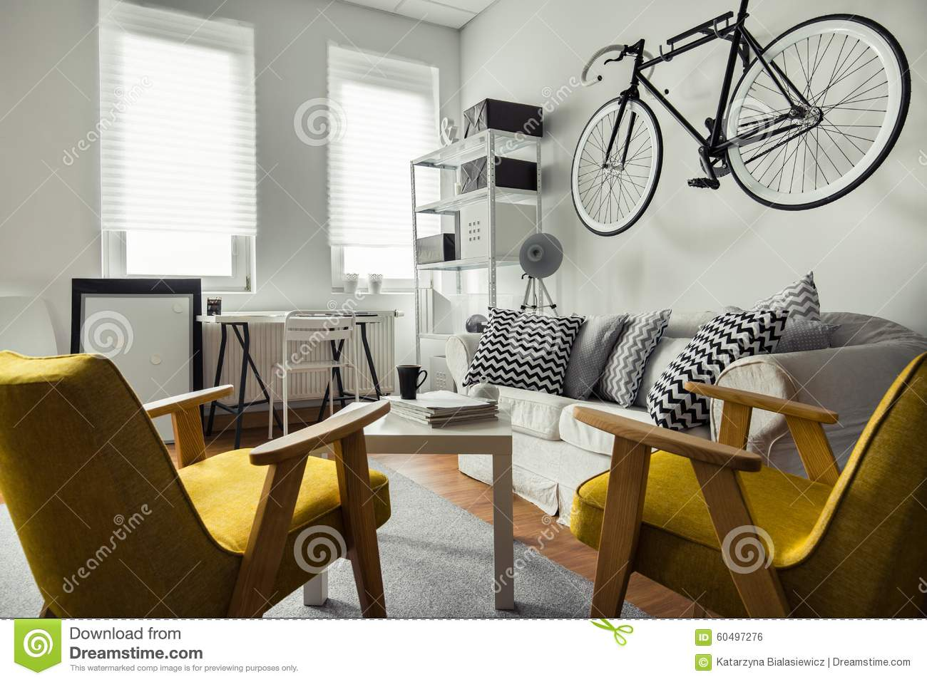 Bicycle hanging on the wall stock photo image 60497276 Where to hang pictures in living room