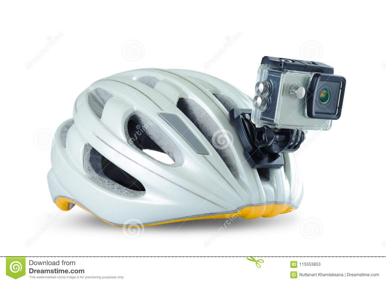8704b1f8fc7 Bicycle helmet with front action camera isolated on background. Safety  equipment