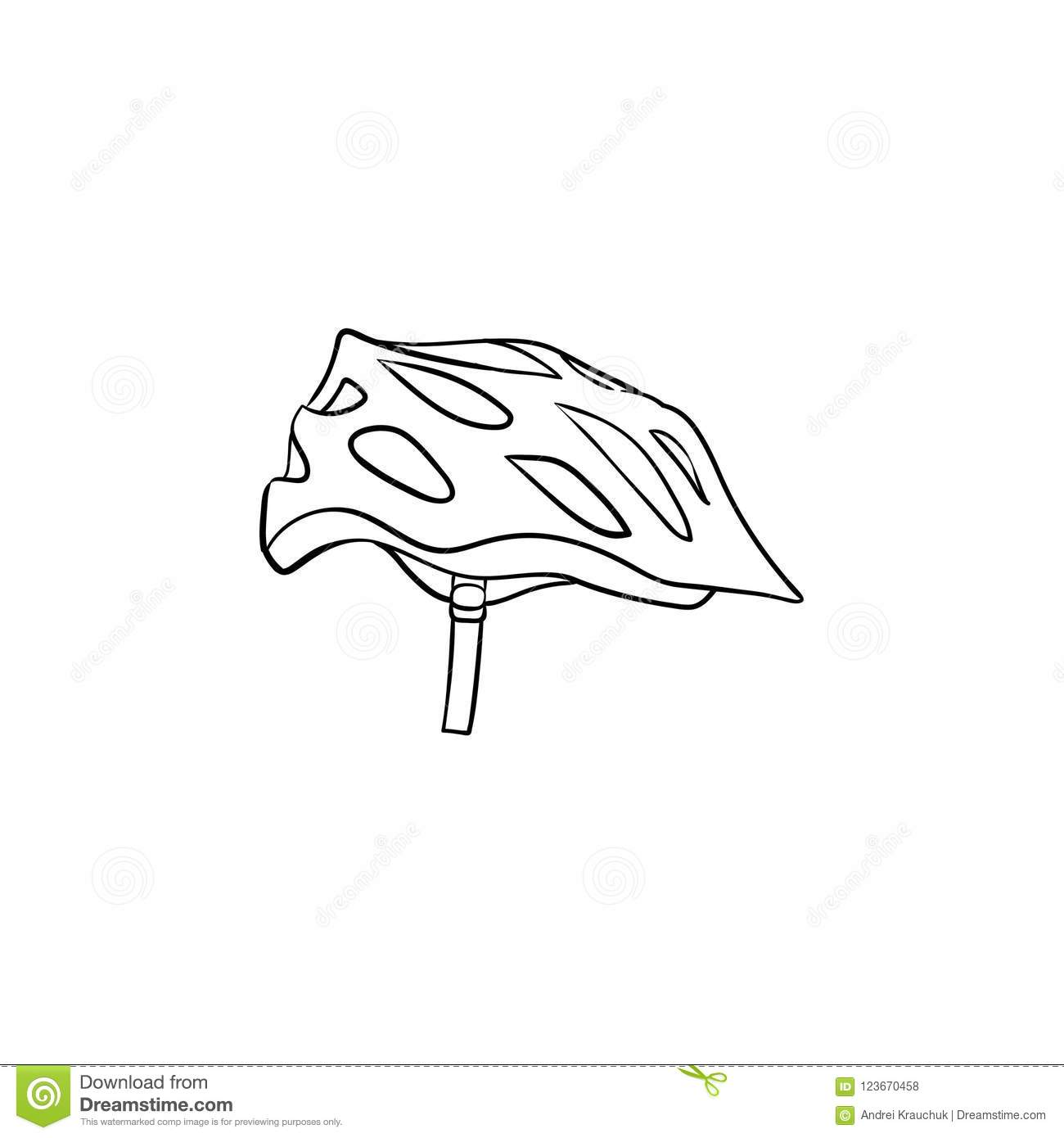 Bicycle Helmet Hand Drawn Outline Doodle Icon Stock Vector