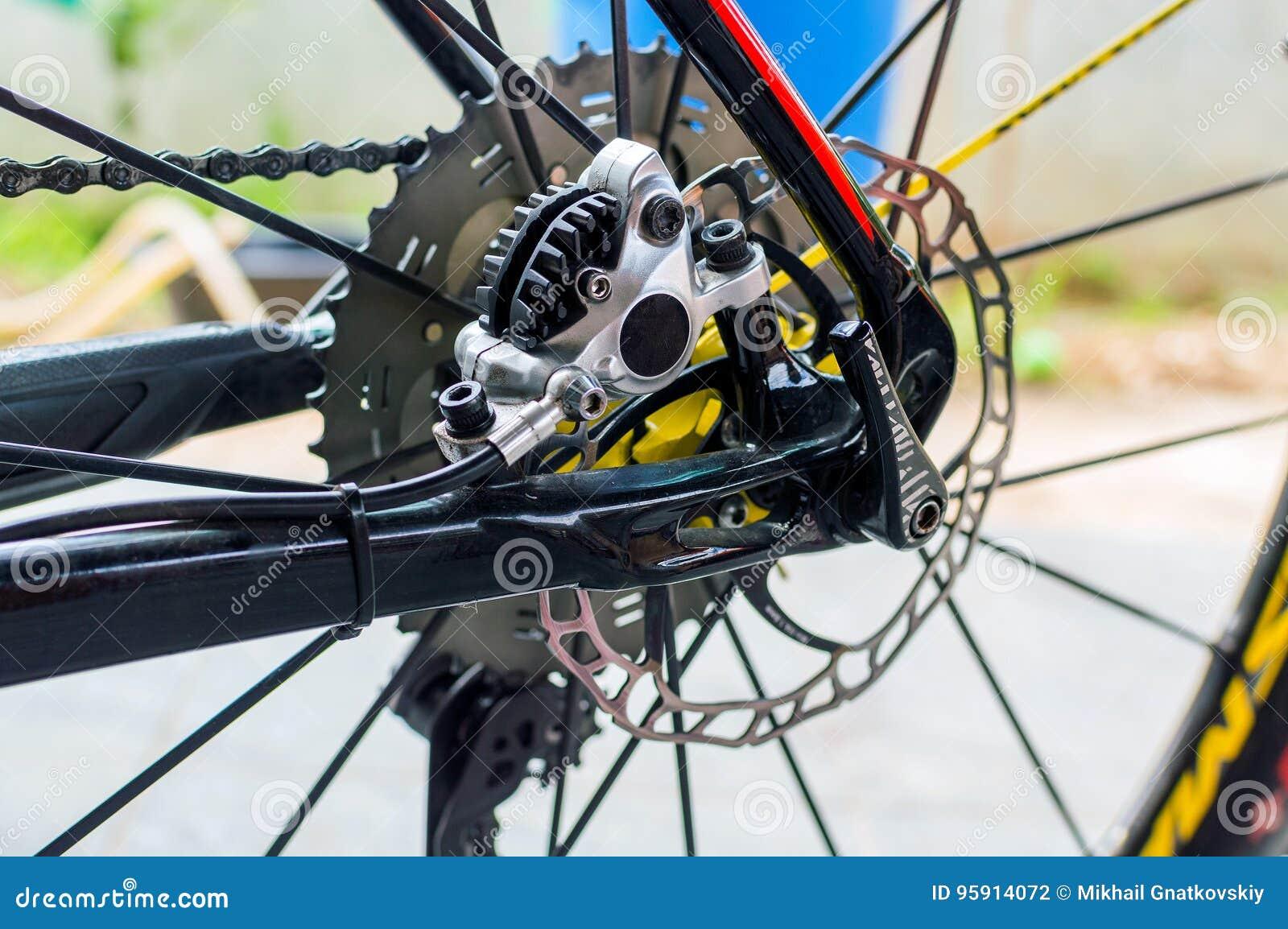 Bicycle Hydraulic Rear Disk Brake On Sport Bike Edition Stock Photo