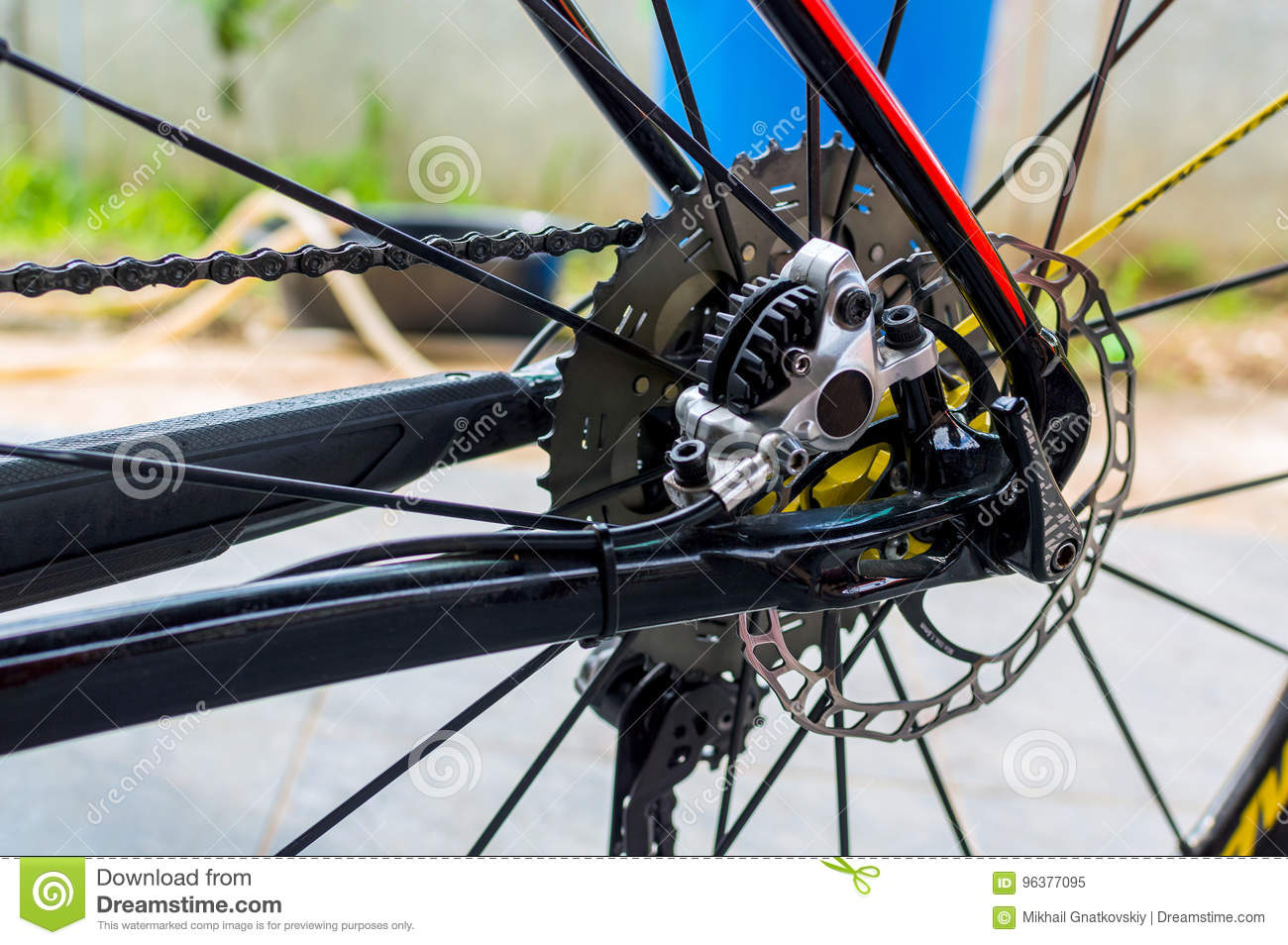 Bicycle Hydraulic Rear Disk Brake On Sport Bike Edition Stock Image