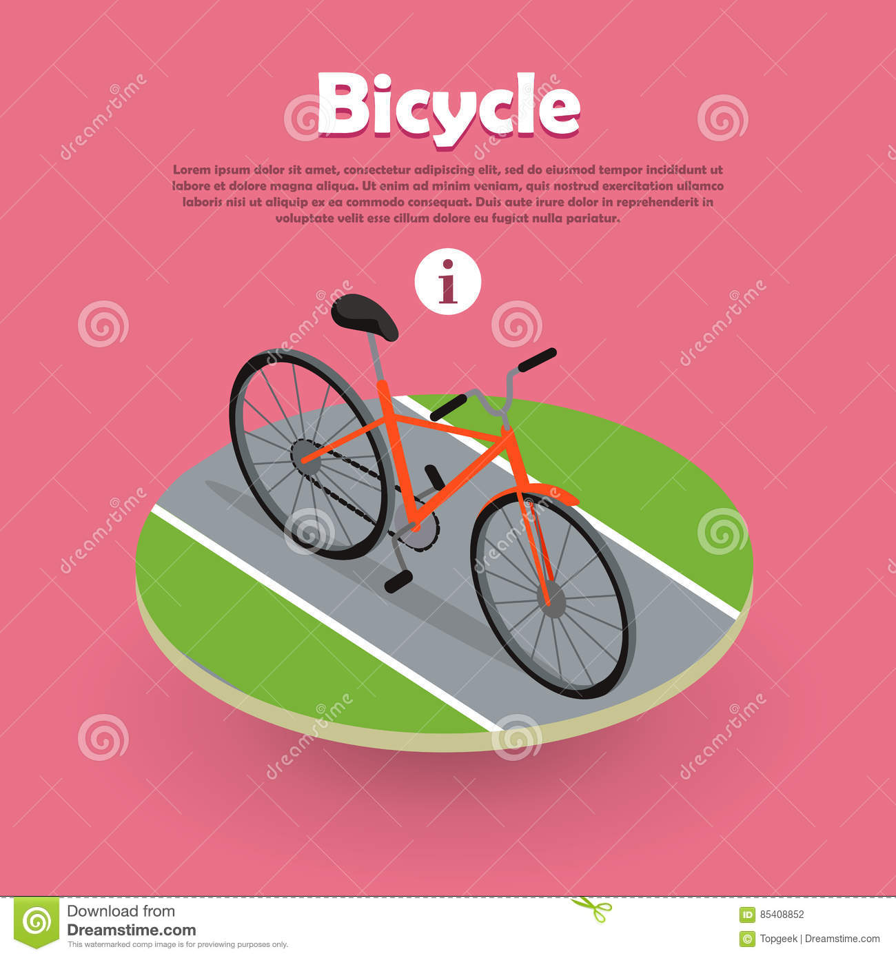 Bicycle Icon Isometric Design on Road Web Banner.