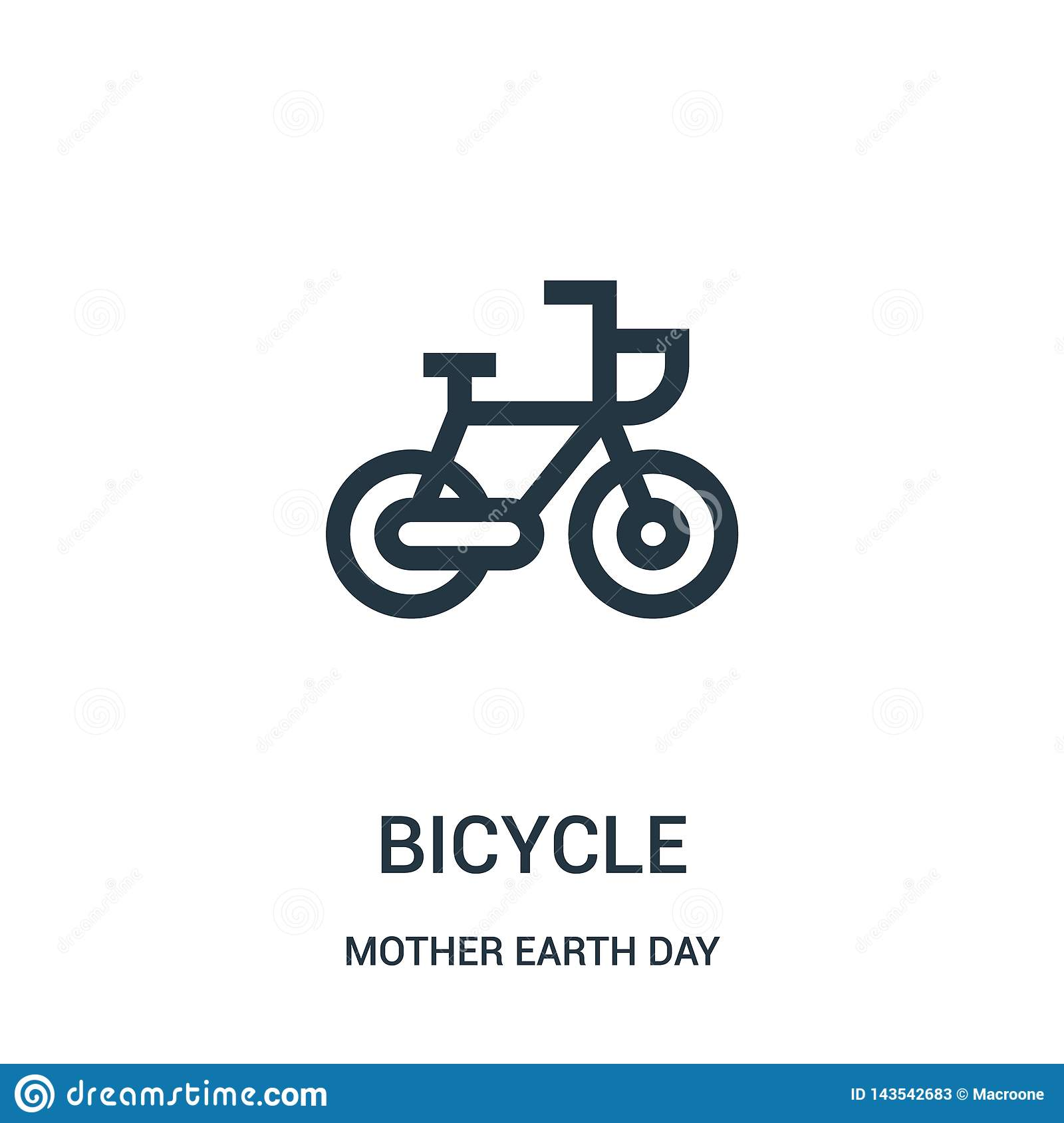 bicycle icon vector from mother earth day collection. Thin line bicycle outline icon vector illustration