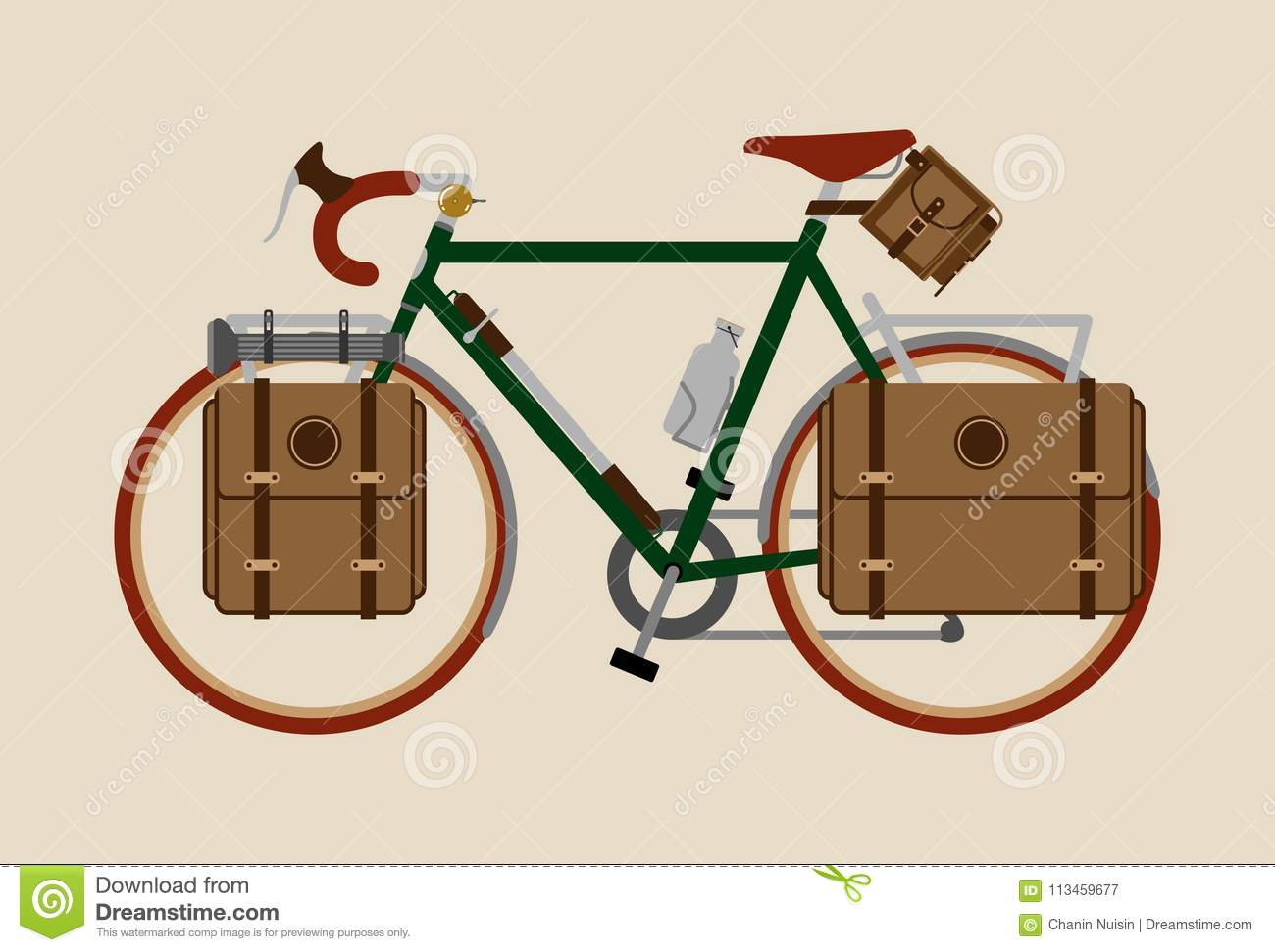 Bicycle illustration graphic vintage bike cycling Touring dark green