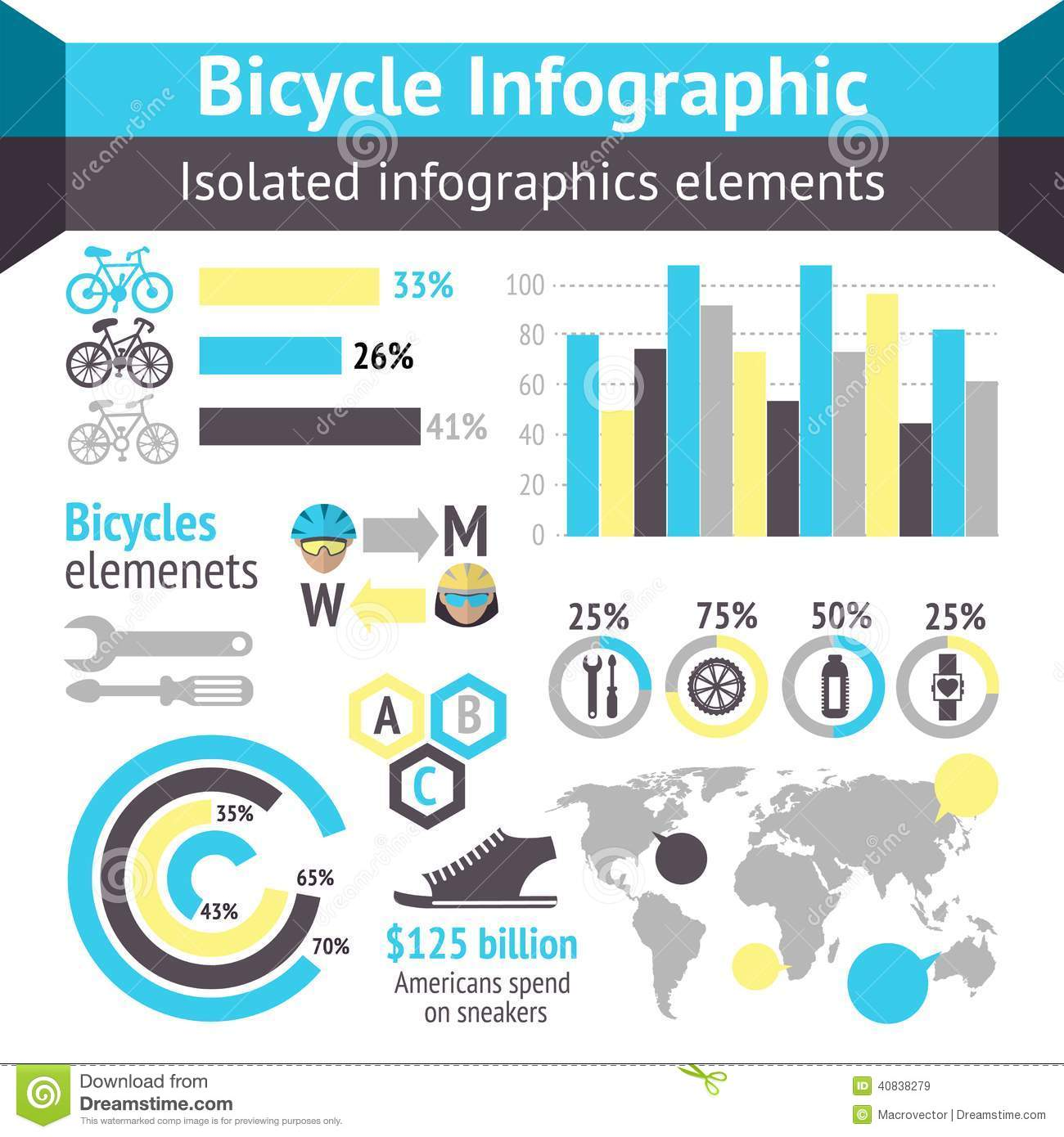 Bicycle Infographic Elements Stock Vector - Image: 40838279