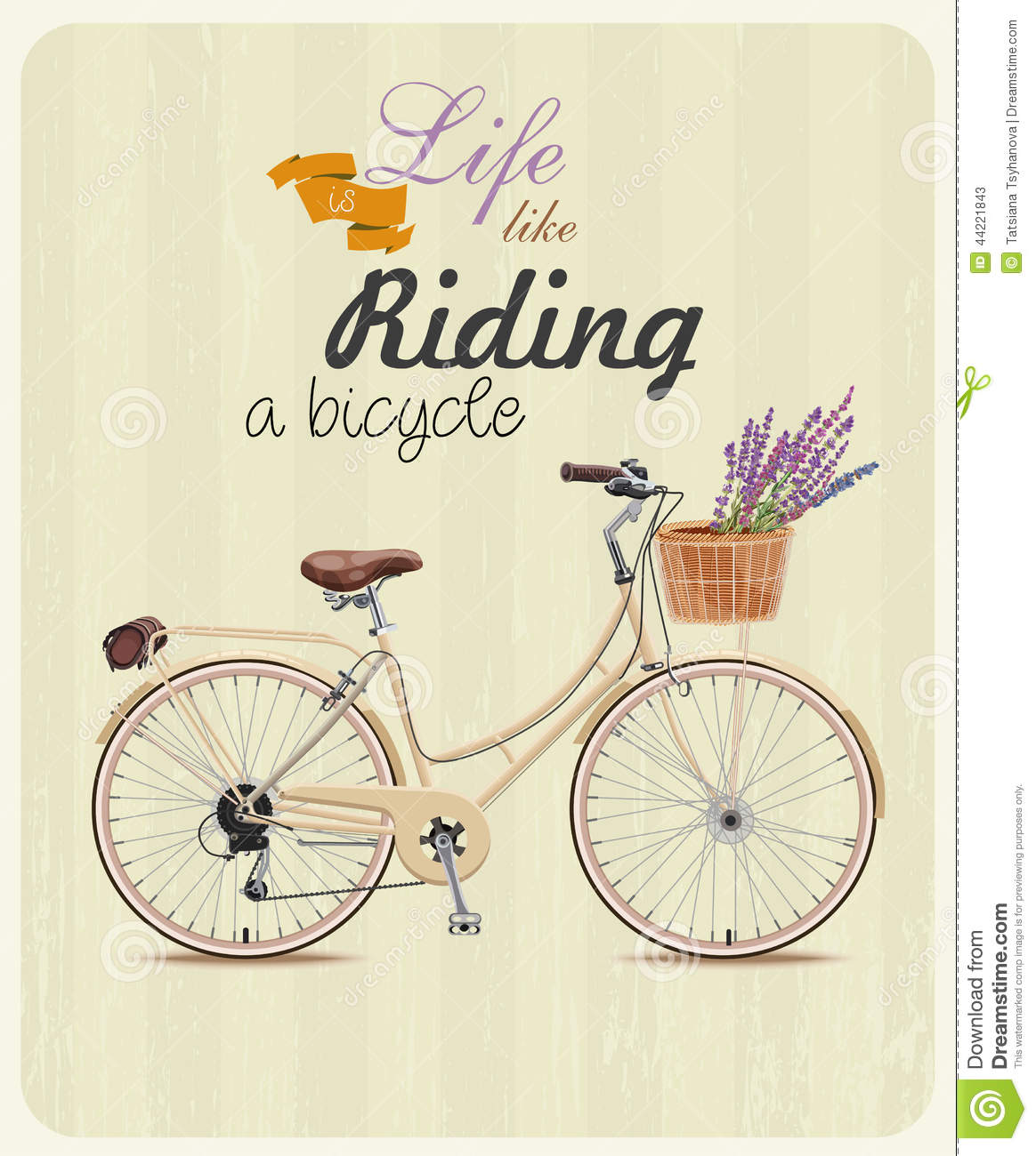 Bicycle with lavender in basket poster in vintage style vector illustration - Vintage style images ...