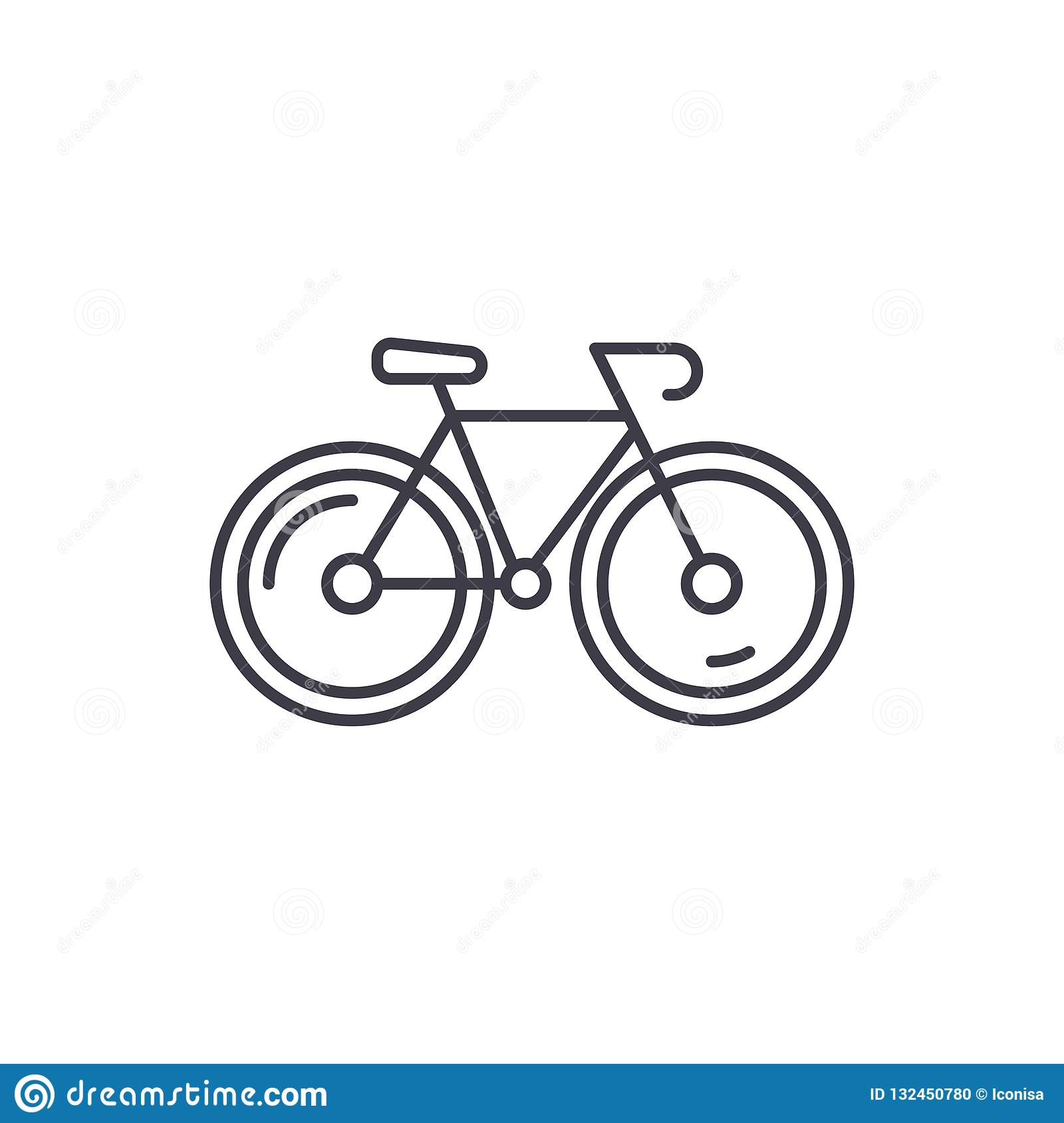 Bicycle line icon concept. Bicycle vector linear illustration, symbol, sign