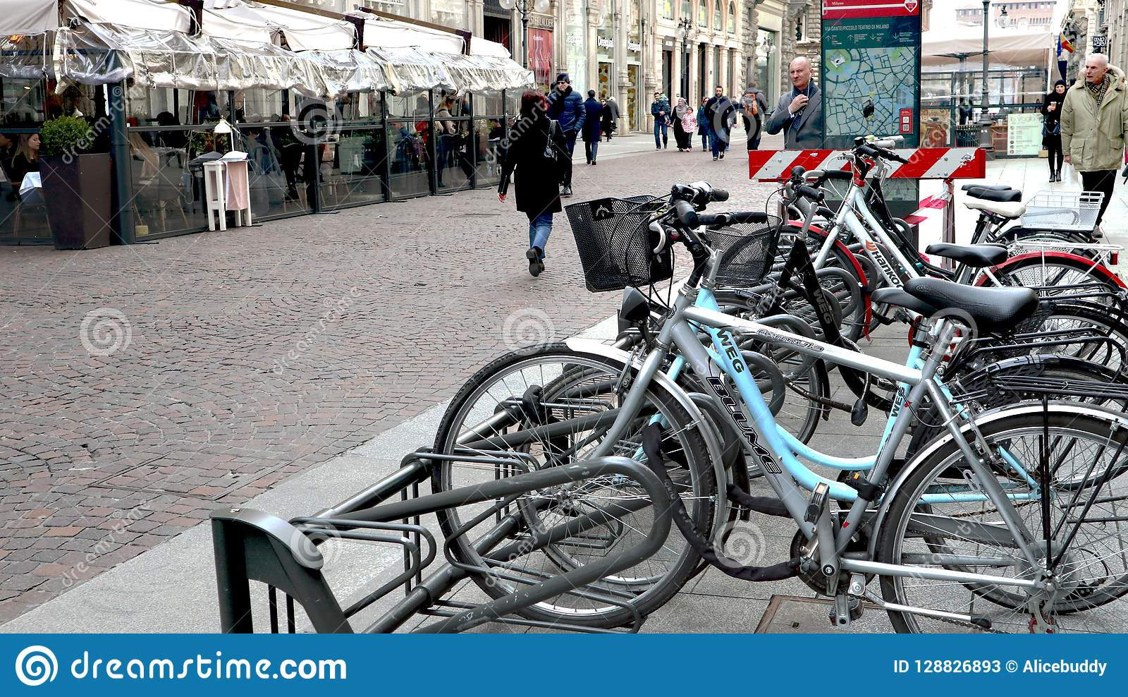 Bicycle line in milan italy