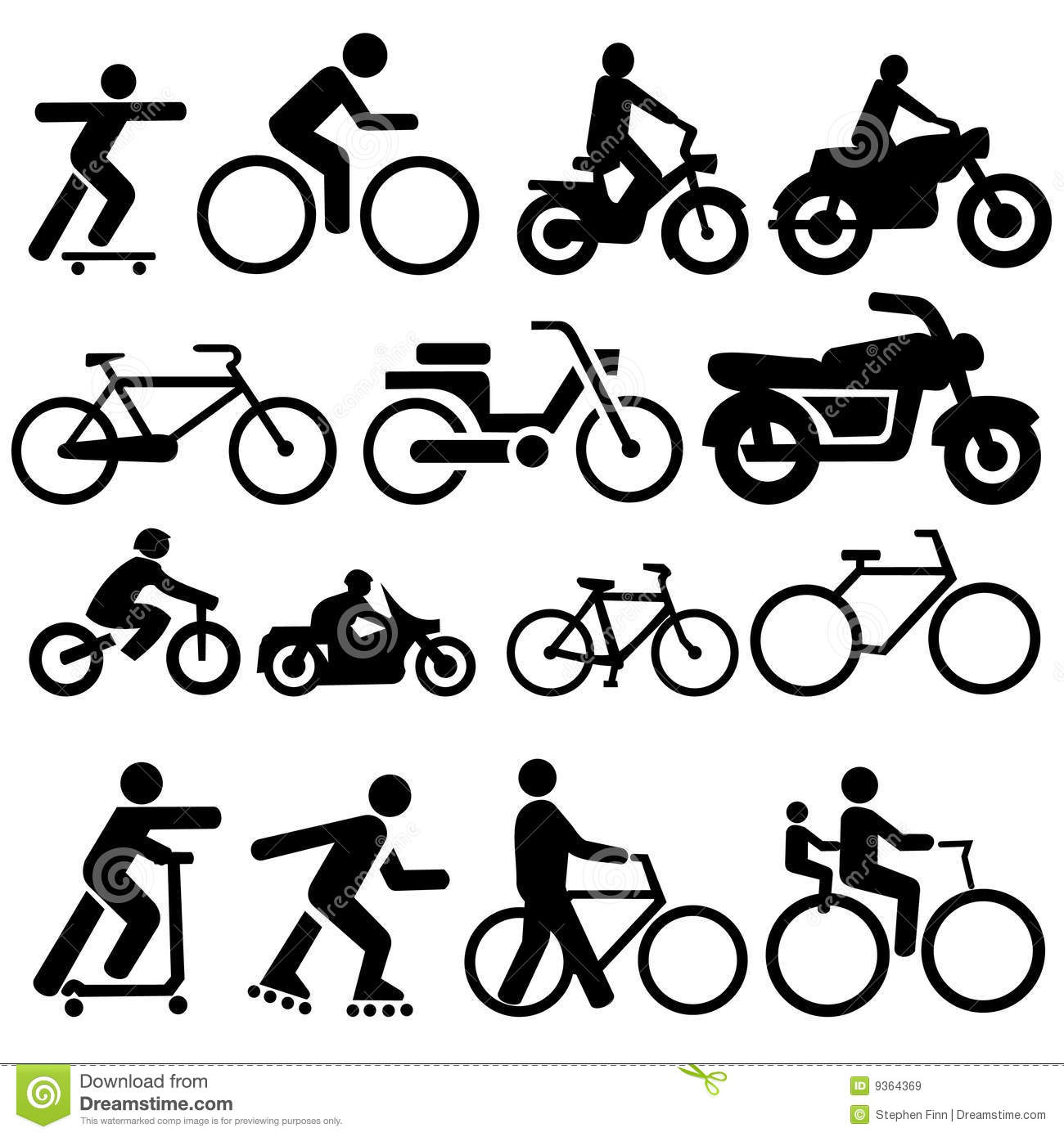 Bicycle Motorcycle Silhouettes Royalty Free Stock Images