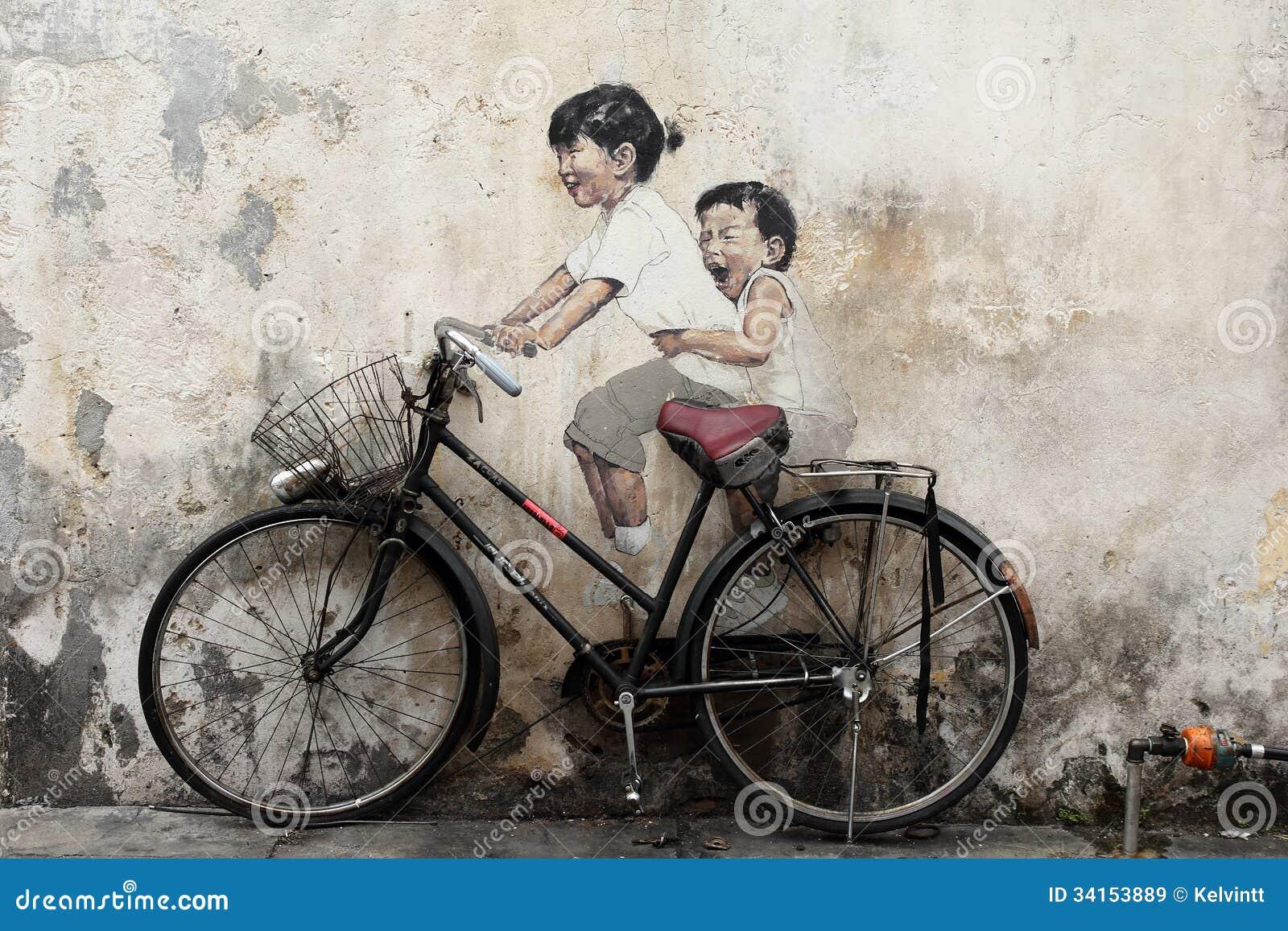 Bicycle Mural Painting At Penang Editorial Stock Image