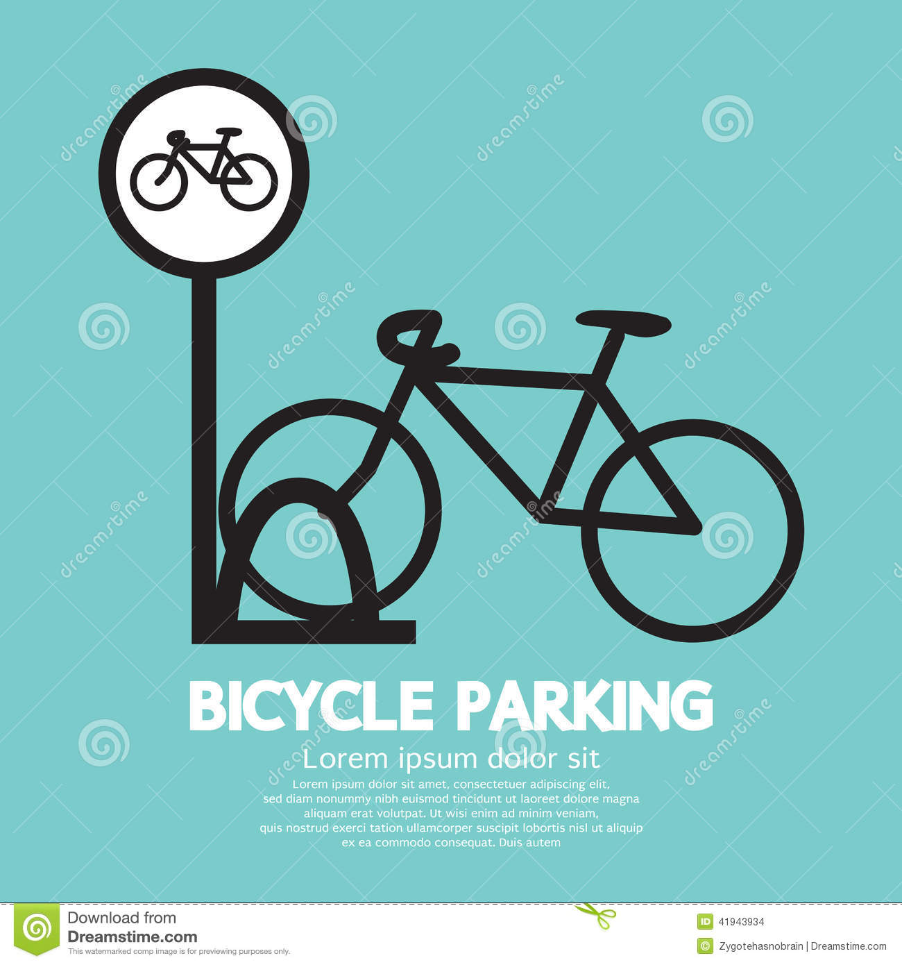 Bicycle parking sign stock vector image 41943934 - Parking de bicicletas ...