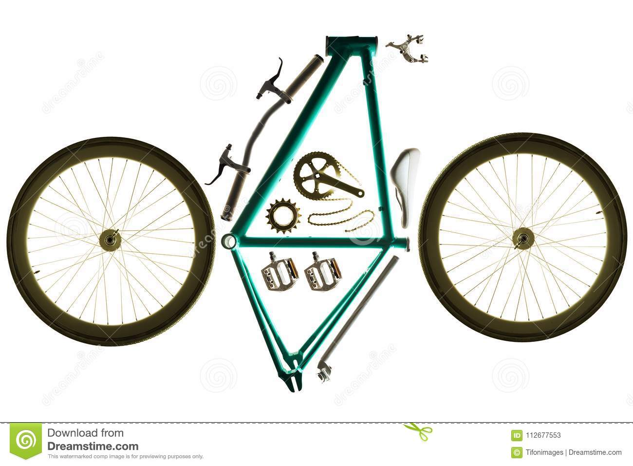 Bicycle Parts For Assembling A Custom Bike Stock Image - Image of