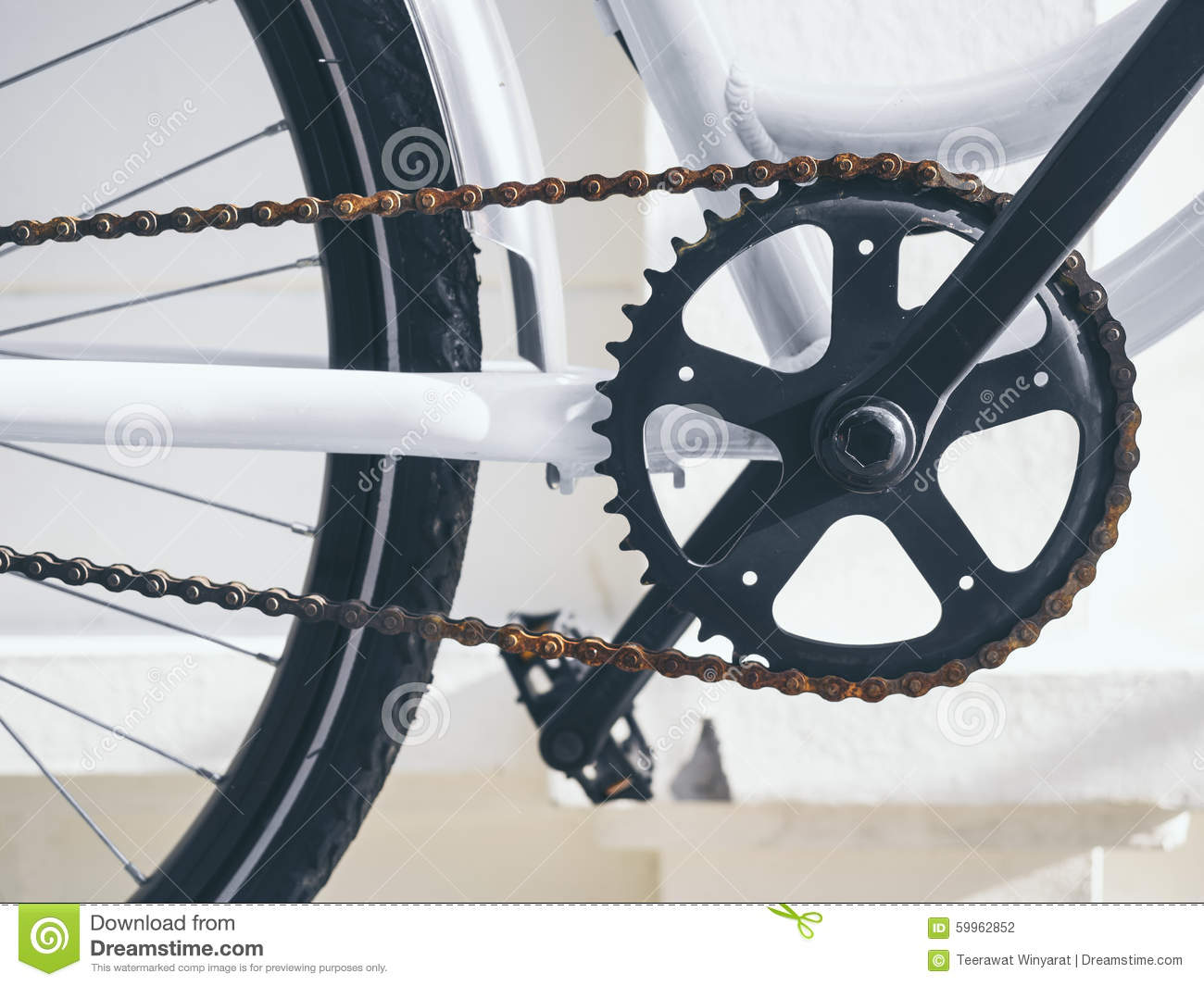 Bicycle Parts Crank And Chain Set With Pedal Stock Photo Image Of