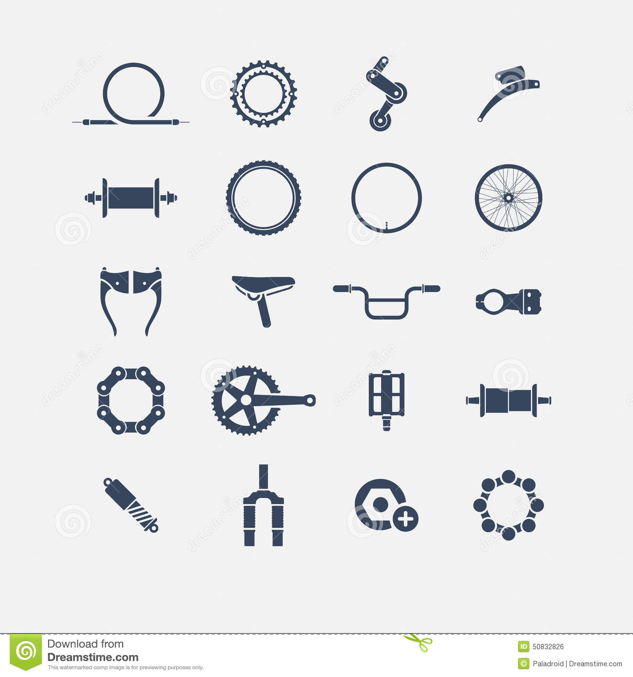 Bicycle Parts Icons St...