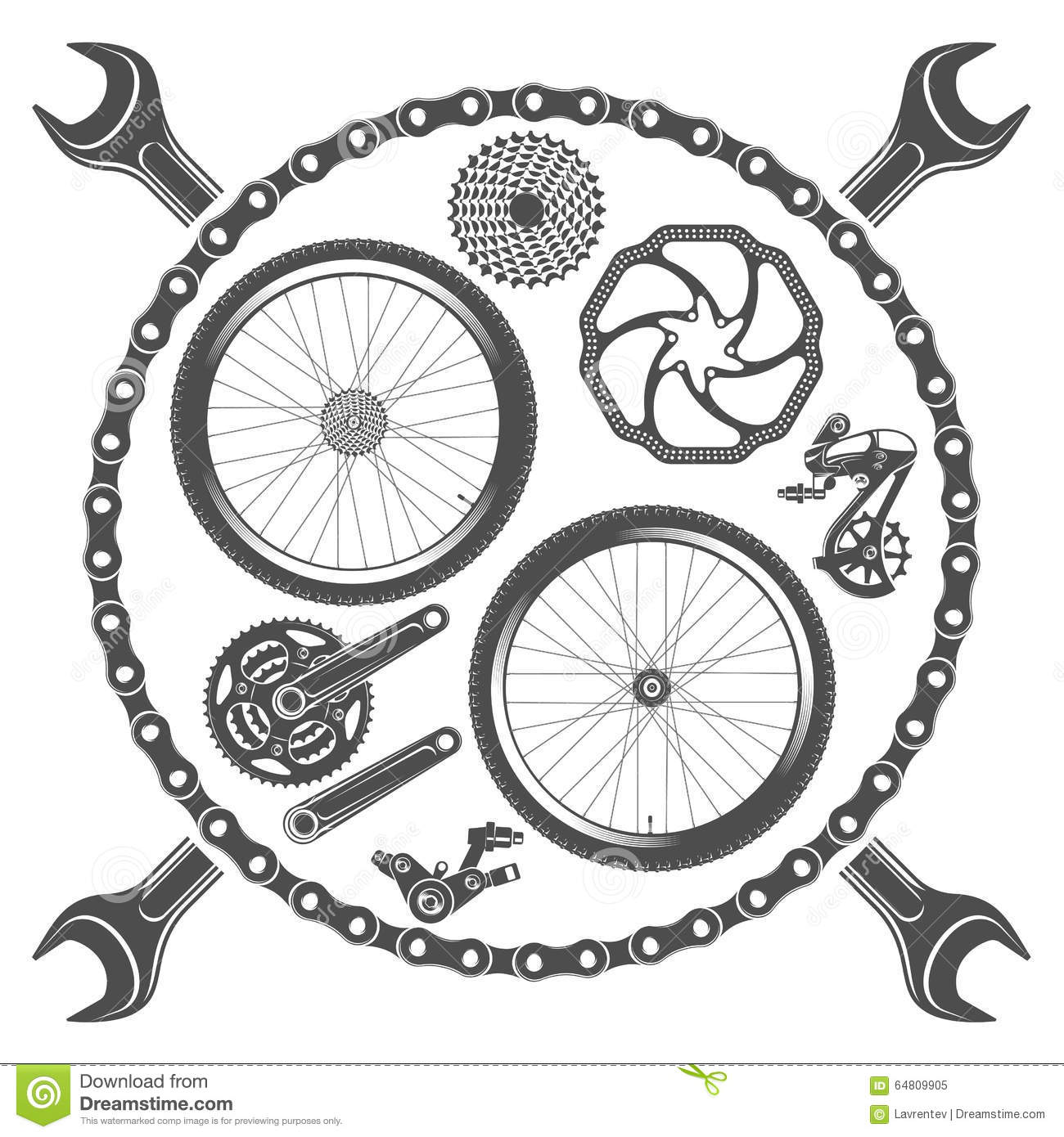 Bicycle Parts Isolated On White Background Cartoon Vector ...