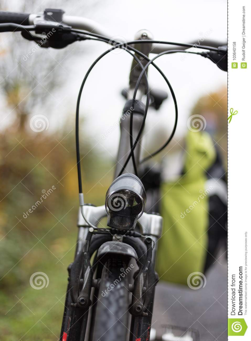 Bicycle And Parts At Outdoor Exercise On A Foggy November Day Stock