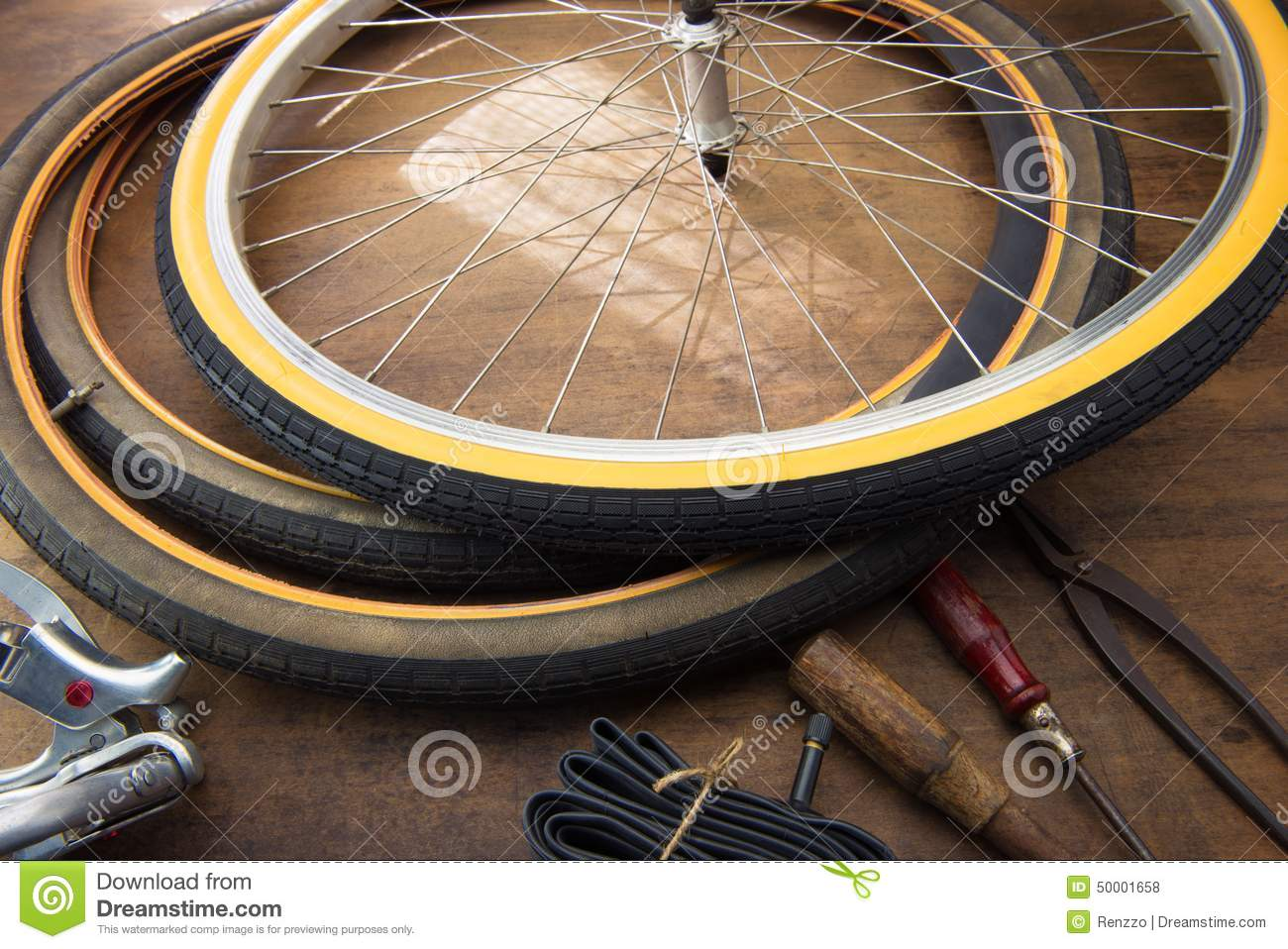 Bicycle Repair Repairing Or Changing A Tire Of An Vintage Bicycle