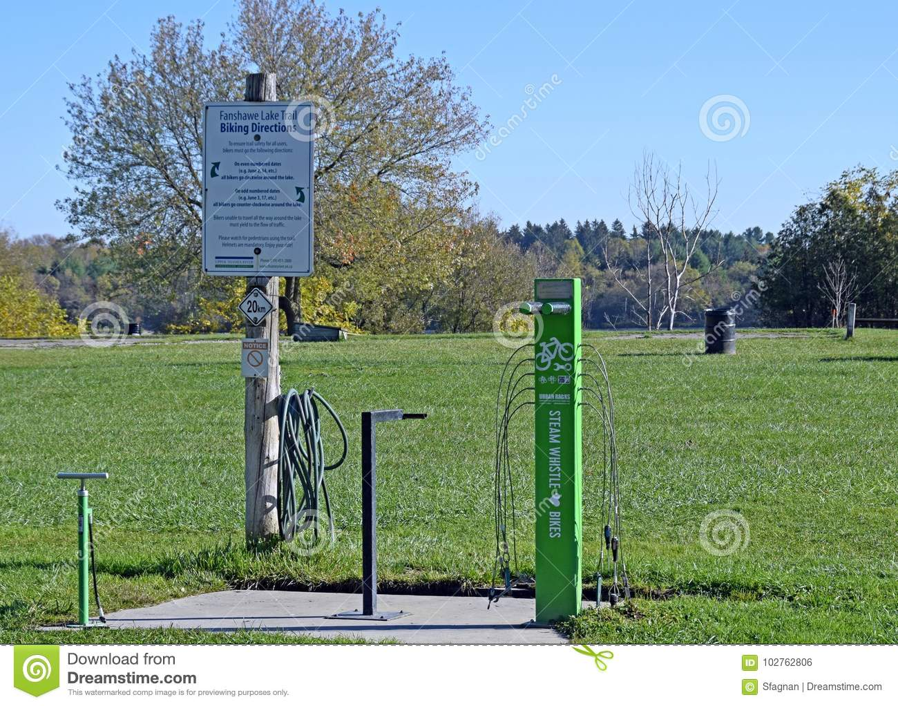 Bicycle Repair Station In The Park Editorial Photo Image Of Wash