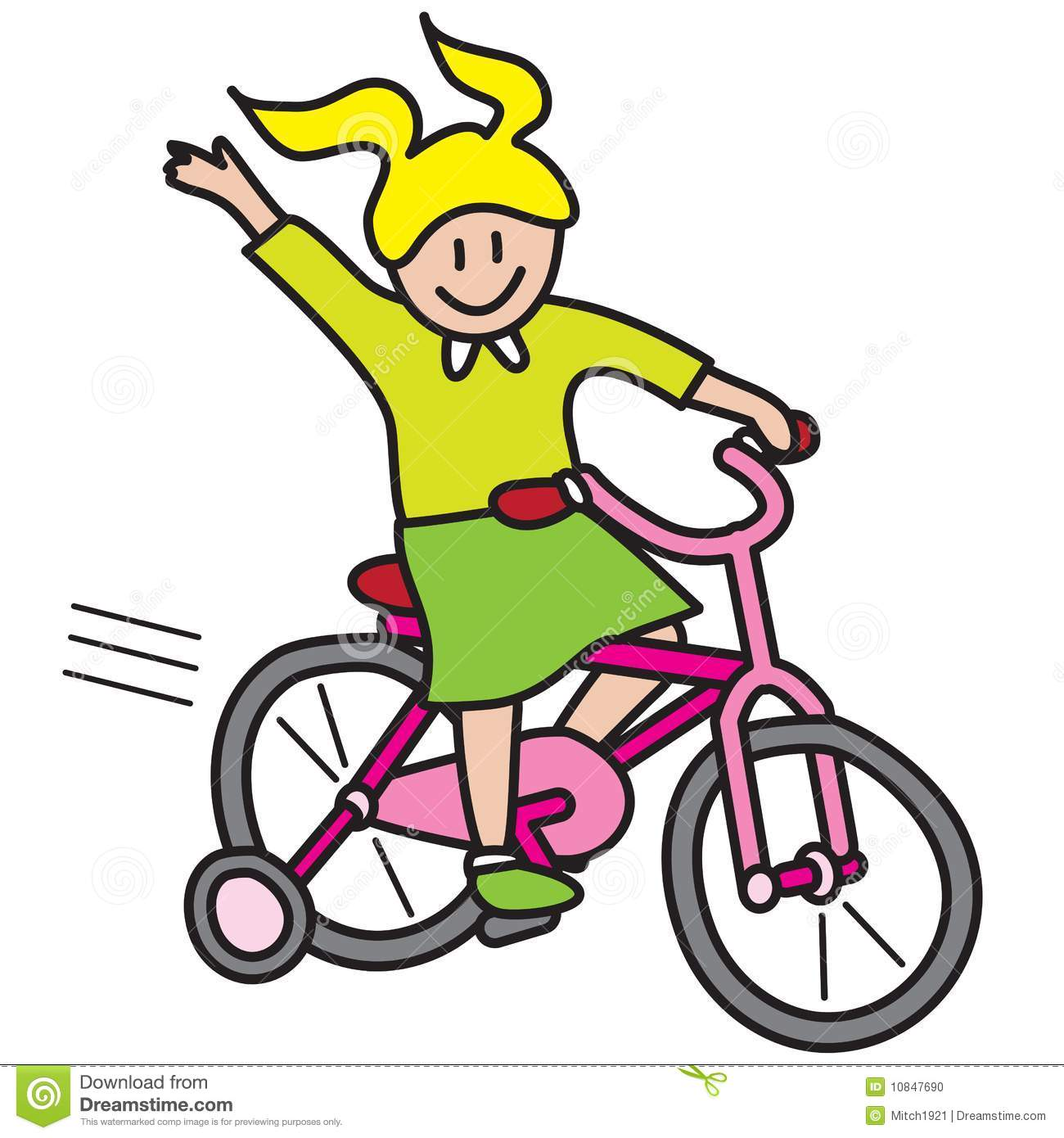Girl riding bicycle vector illustration isolated on white background.