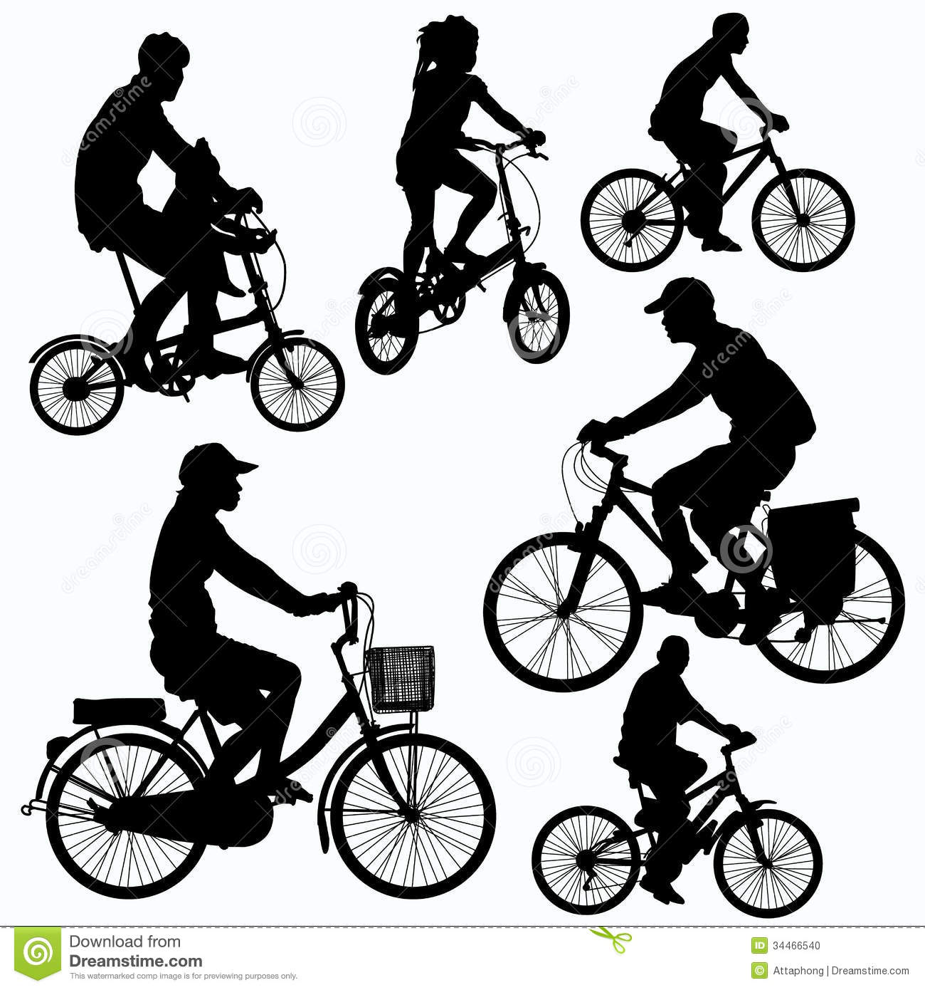Bicycle Ride Silhouettes Vector Stock Vector - Image: 34466540