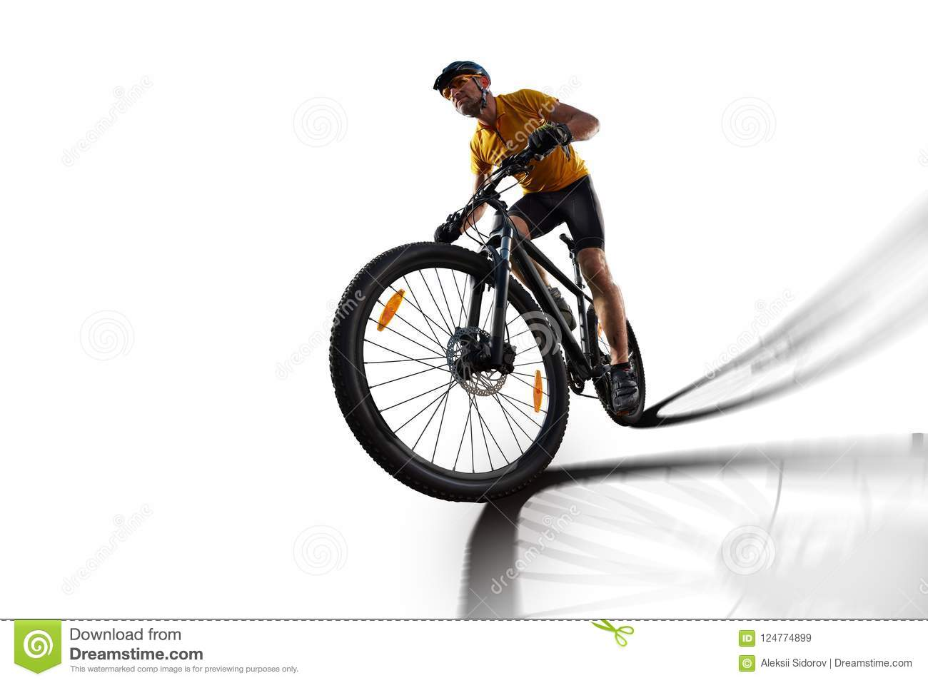 Bicycle rider cycle bike isolated in white
