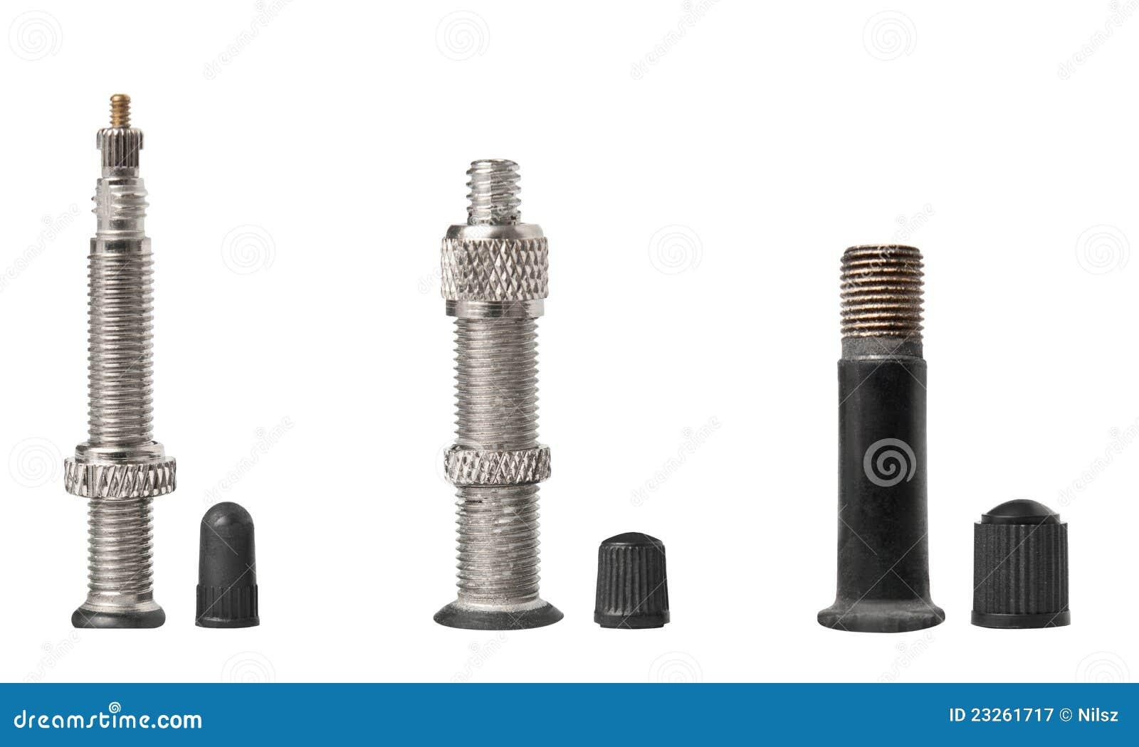Bicycle sclaverand dunlop schrader valve stock image